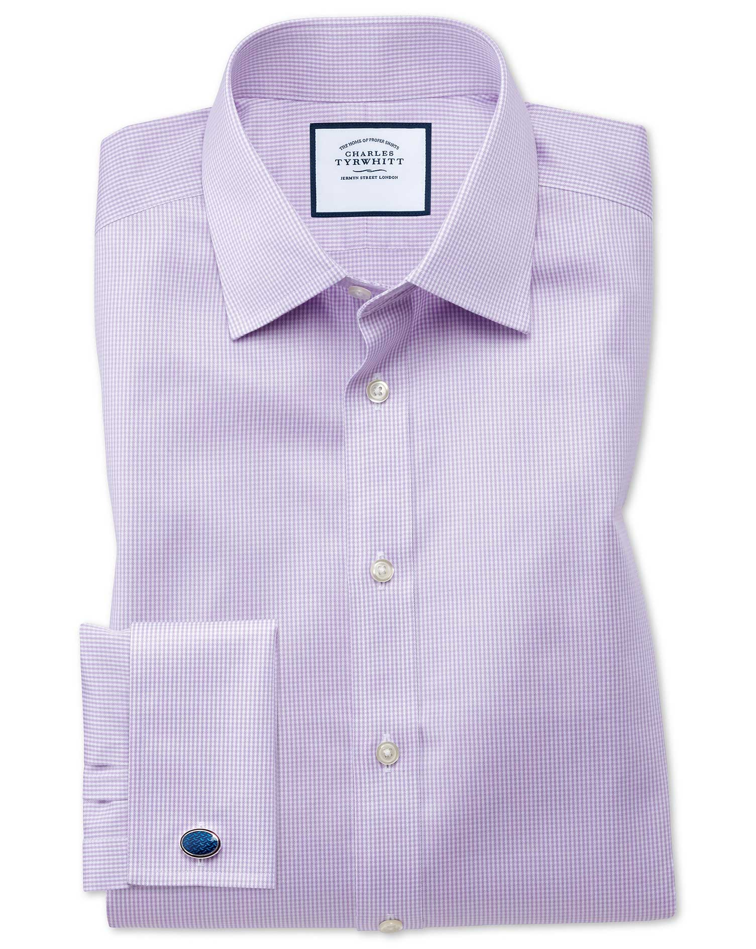 Classic Fit Non-Iron Puppytooth Lilac Cotton Formal Shirt Double Cuff Size 16/33 by Charles Tyrwhitt