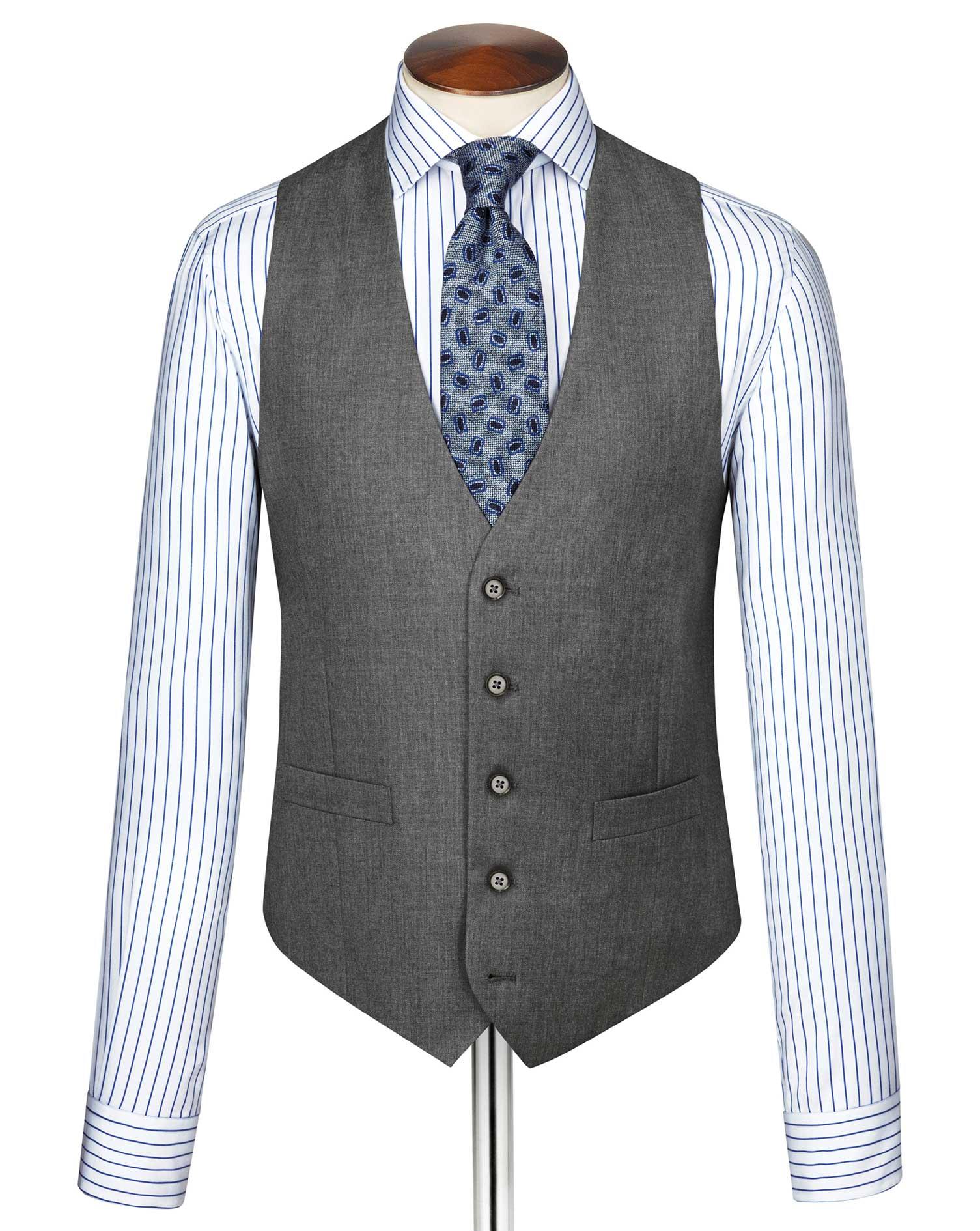Mid Grey Twill Business Suit Wool Waistcoat Size w42 by Charles Tyrwhitt