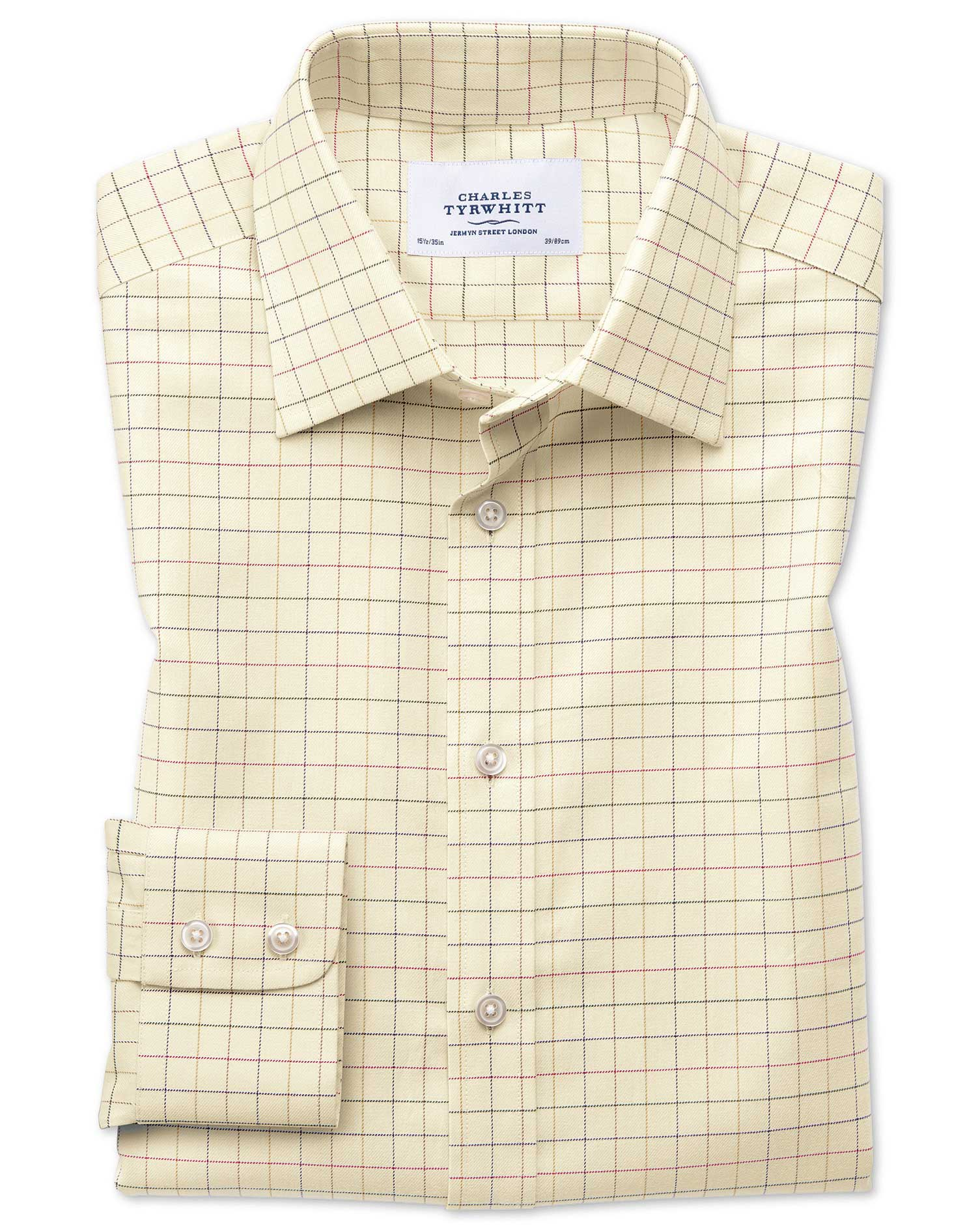 Slim Fit Country Check Multi Cotton Formal Shirt Single Cuff Size 15.5/33 by Charles Tyrwhitt
