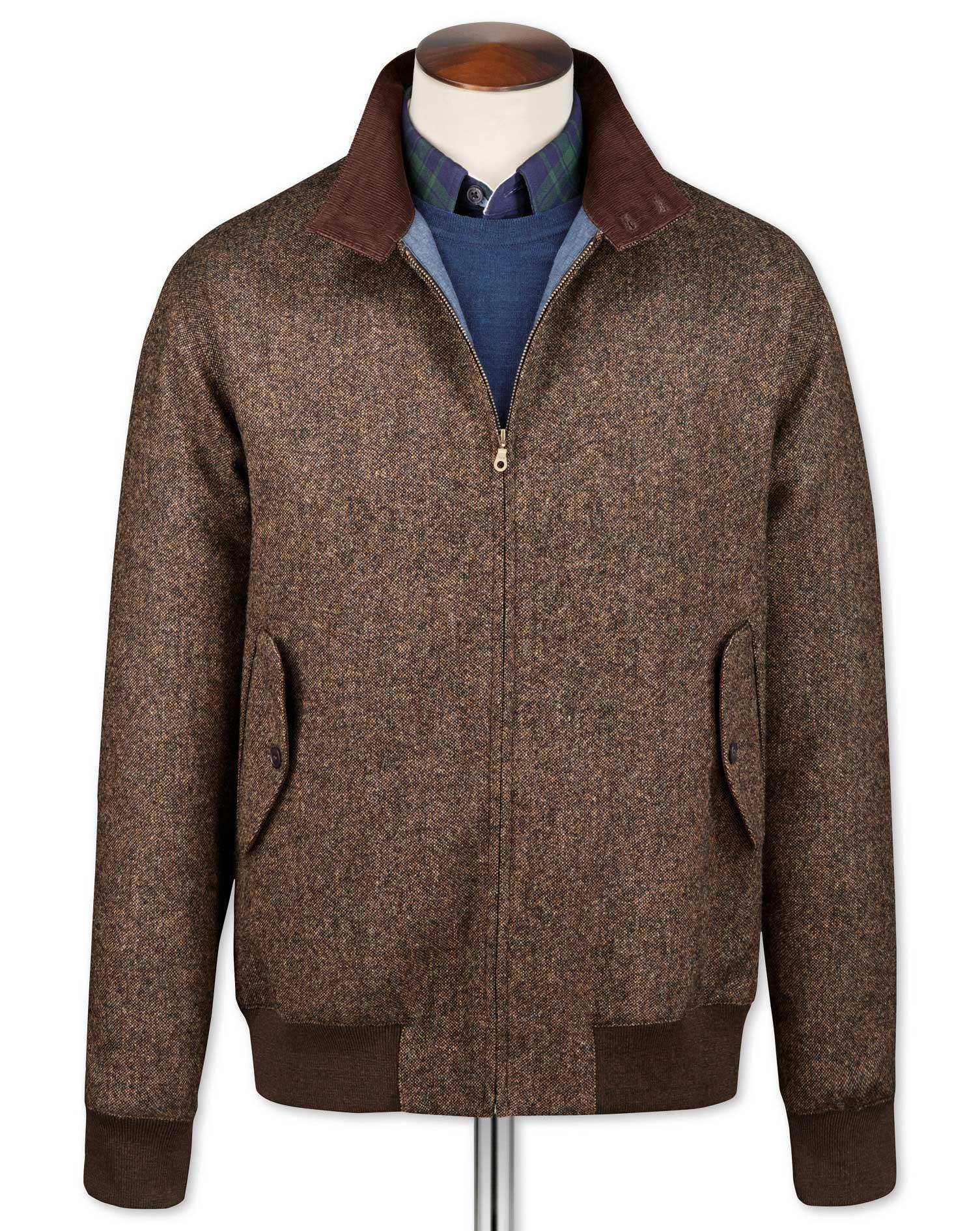 Brown Harrington Wool Jacket Size 46 Regular by Charles Tyrwhitt