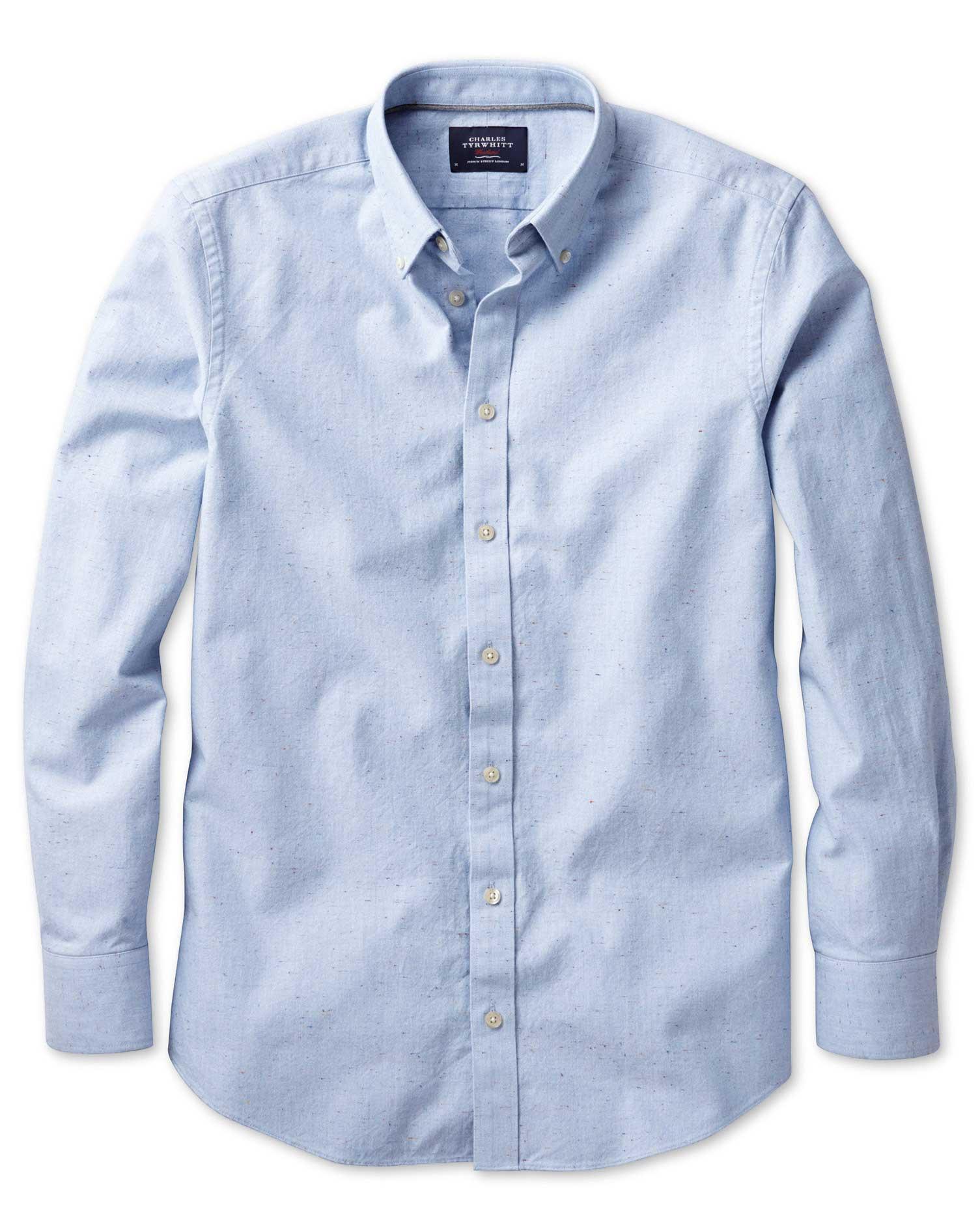 Classic Fit Modern Oxford Sky Blue Fleck Cotton Shirt Single Cuff Size Large by Charles Tyrwhitt