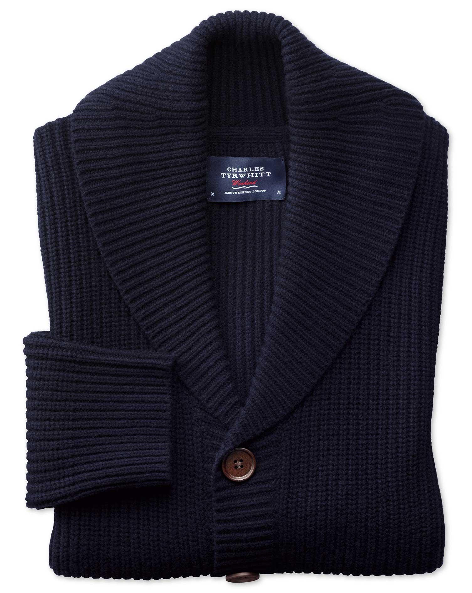 Navy Rib Shawl Collar Wool Cardigan Size Large by Charles Tyrwhitt