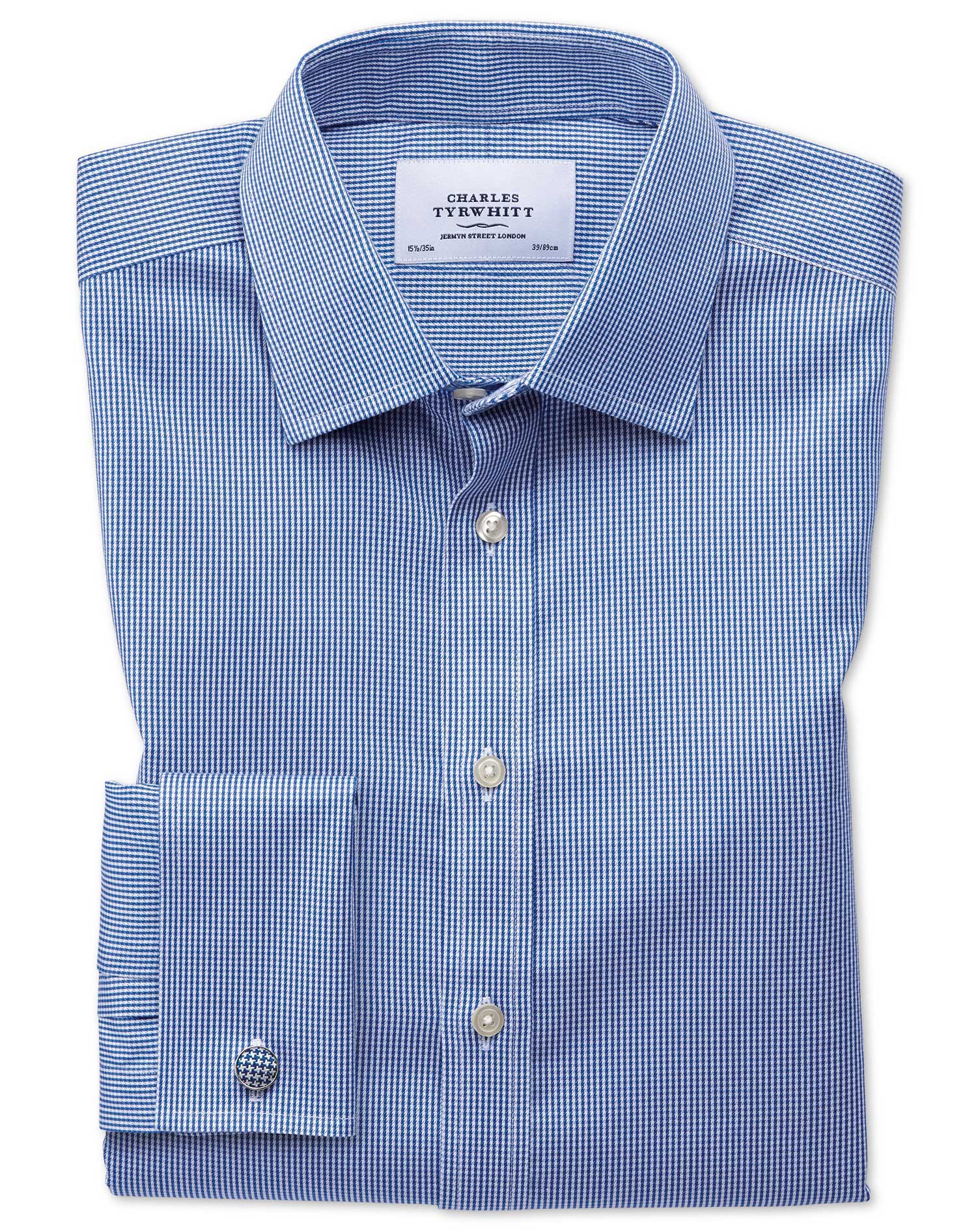 Extra Slim Fit Non-Iron Puppytooth Royal Blue Cotton Formal Shirt Single Cuff Size 15/35 by Charles