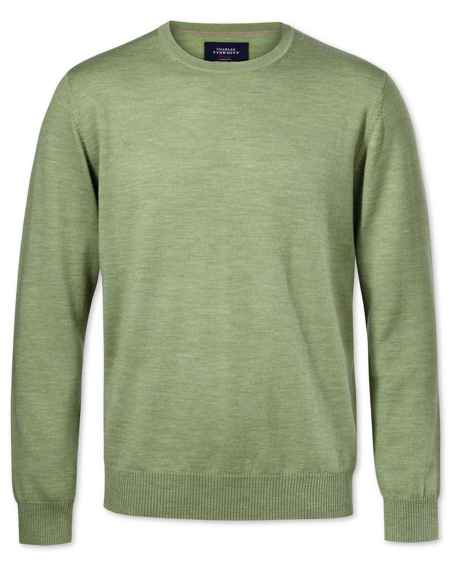 Light Green Merino Wool Crew Neck Jumper Size XXXL by Charles Tyrwhitt