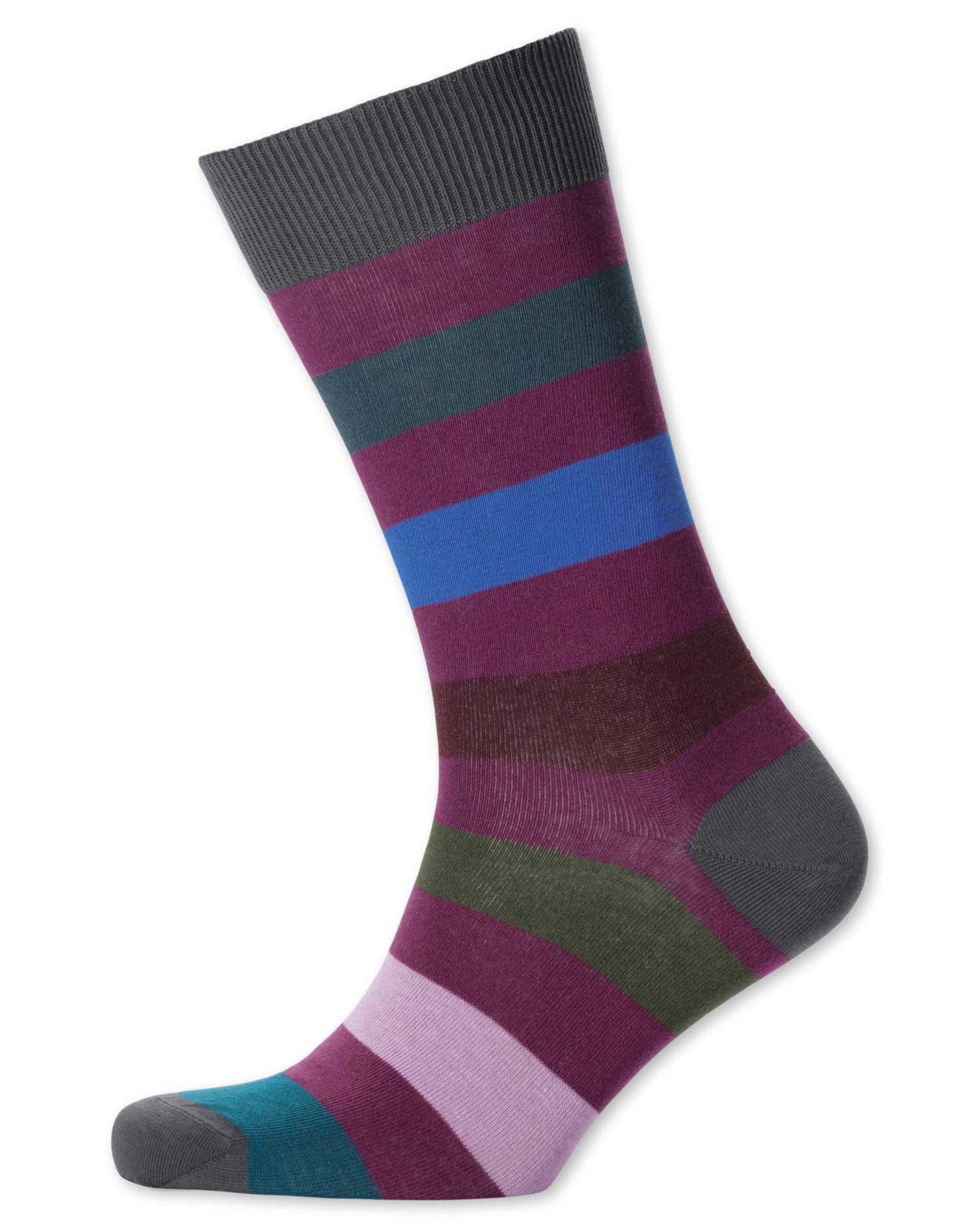 Berry Multi Wide Stripe Socks Size Medium by Charles Tyrwhitt