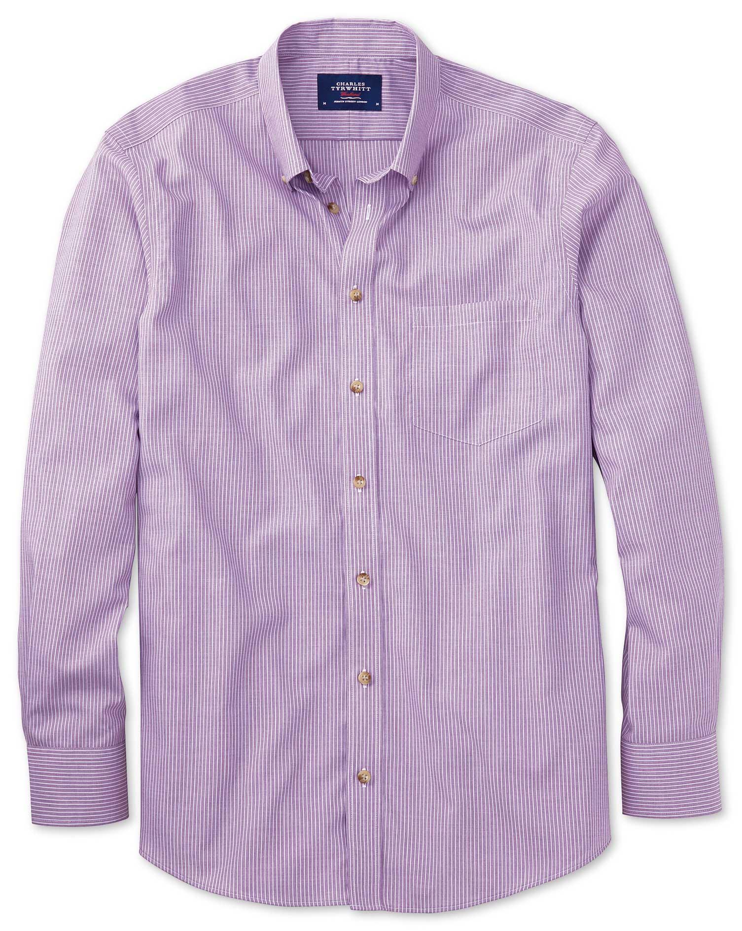 Extra Slim Fit Non-Iron Poplin Lilac Stripe Cotton Shirt Single Cuff Size Small by Charles Tyrwhitt