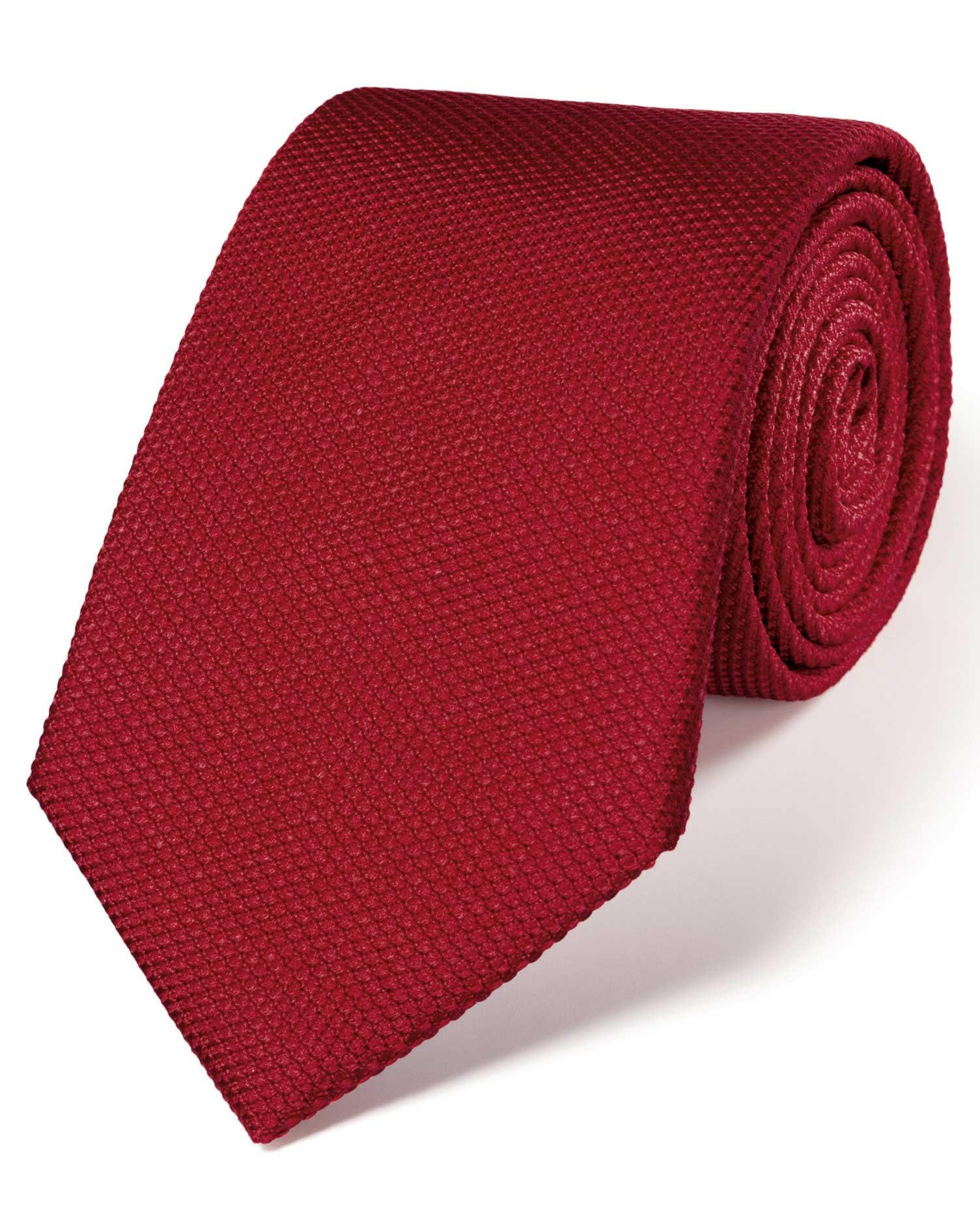 Dark Red Silk Plain Classic Tie Size OSFA by Charles Tyrwhitt