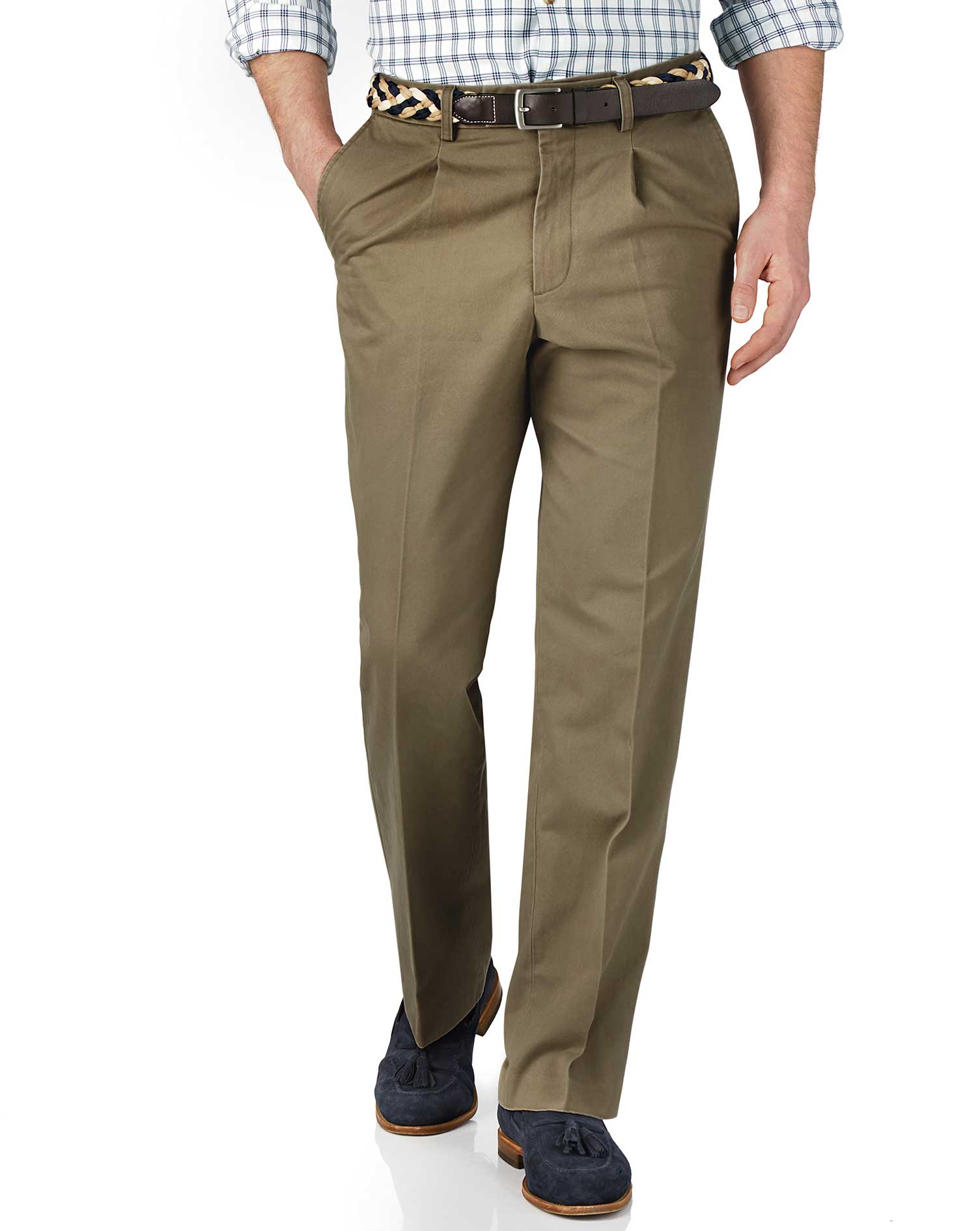 Beige Classic Fit Single Pleat Cotton Chino Trousers Size W42 L38 by Charles Tyrwhitt