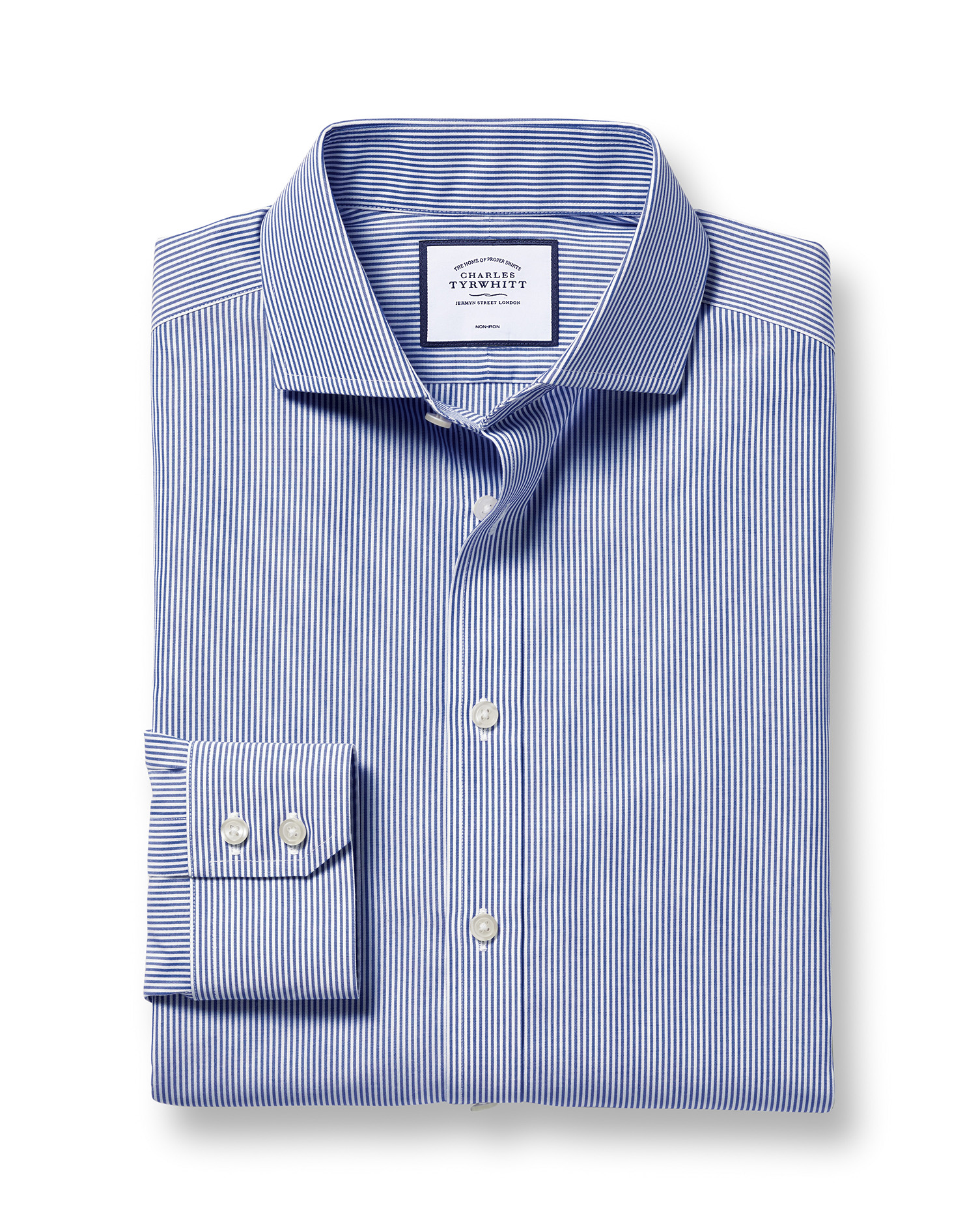Slim Fit Cutaway Non-Iron Bengal Stripe Navy Blue Cotton Formal Shirt Double Cuff Size 16.5/34 by Ch