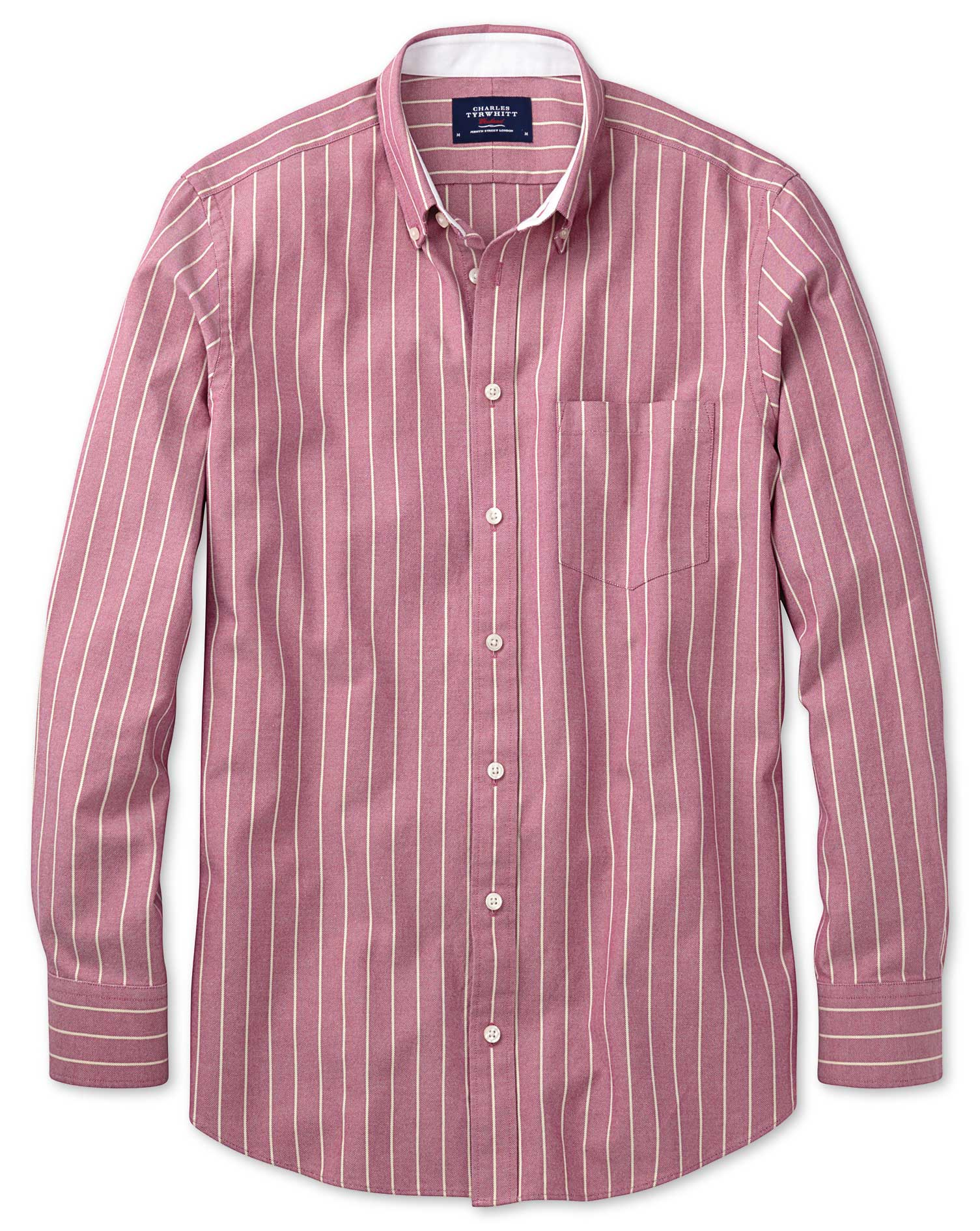 Extra Slim Fit Magenta Stripe Washed Oxford Cotton Shirt Single Cuff Size Large by Charles Tyrwhitt