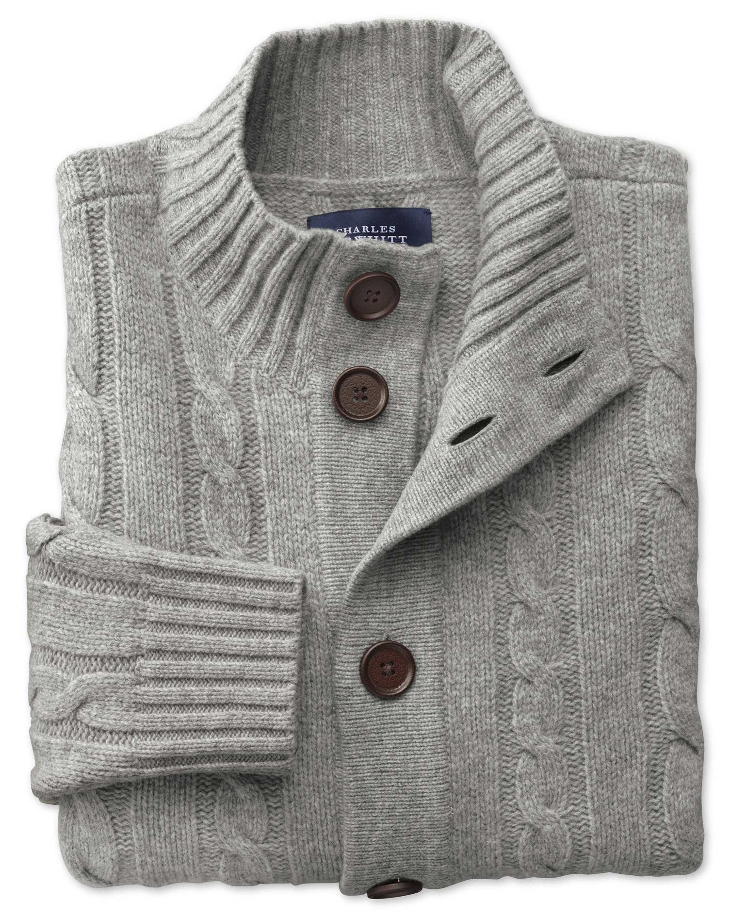 Grey Lambswool Cable Cardigan Size XXXL by Charles Tyrwhitt