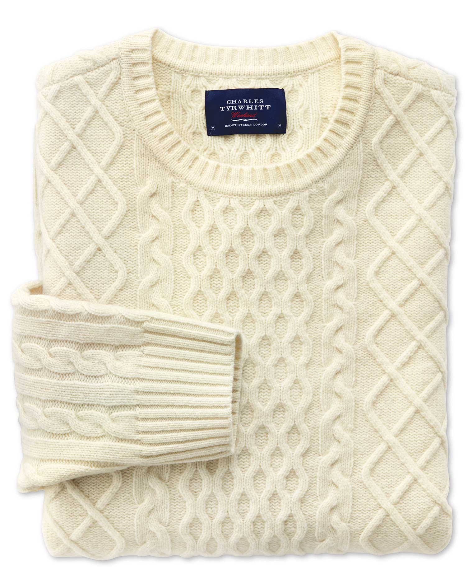 Cream Lambswool Cable Crew Neck Jumper Size Large by Charles Tyrwhitt