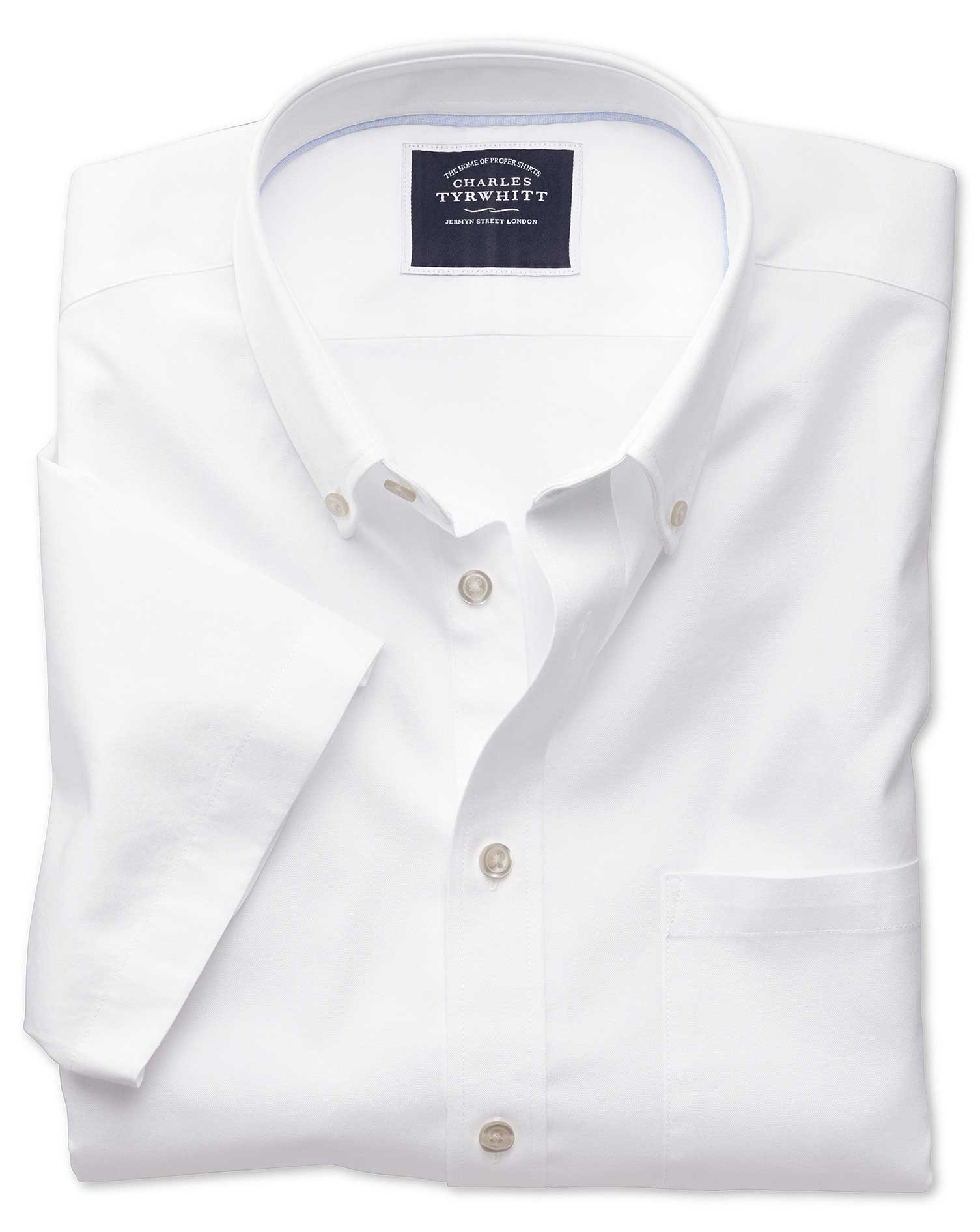 Classic Fit Button-Down Washed Oxford Short Sleeve White Cotton Shirt Single Cuff Size Small by Char