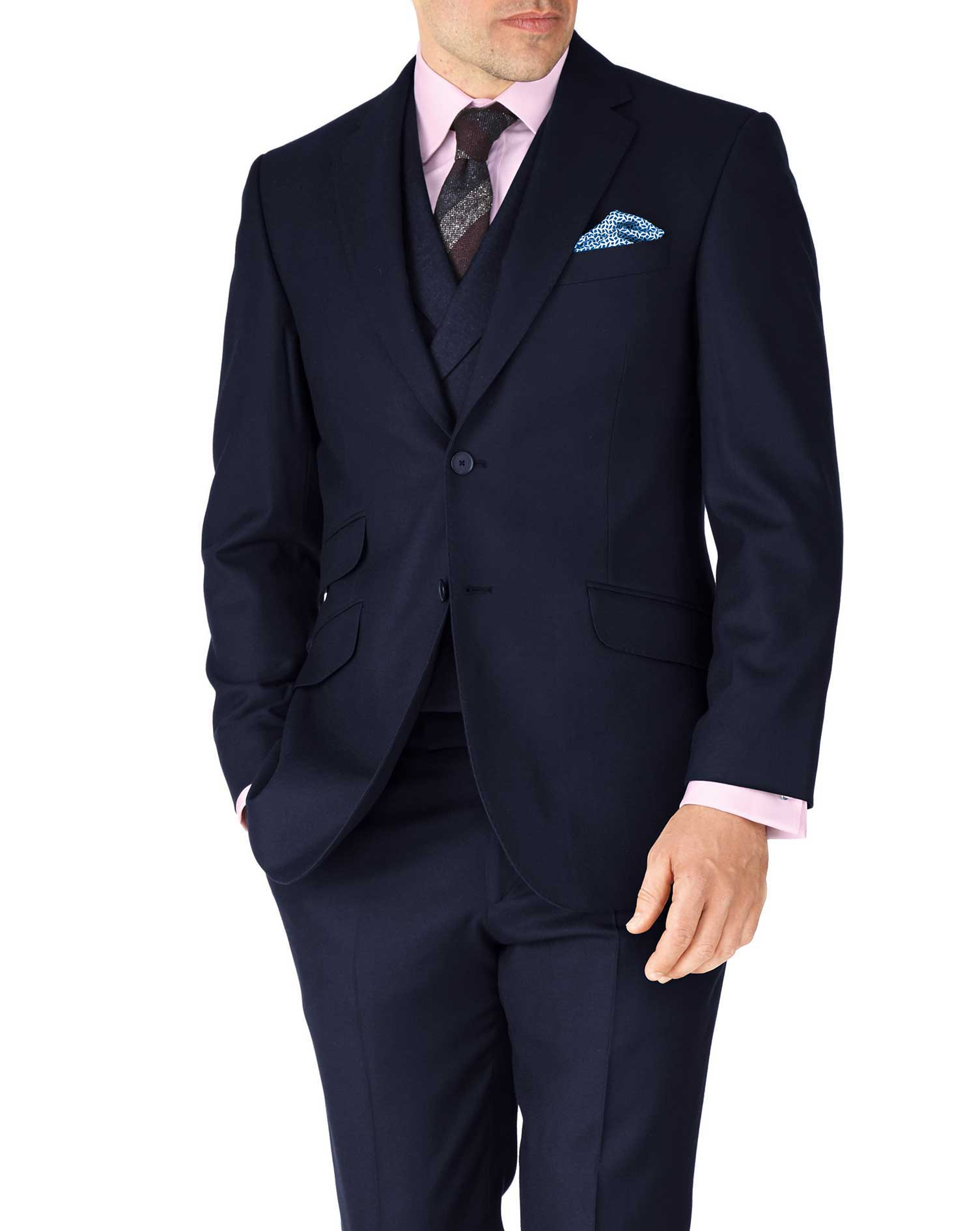 Navy Classic Fit British Serge Luxury Suit Wool Jacket Size 38 Short by Charles Tyrwhitt