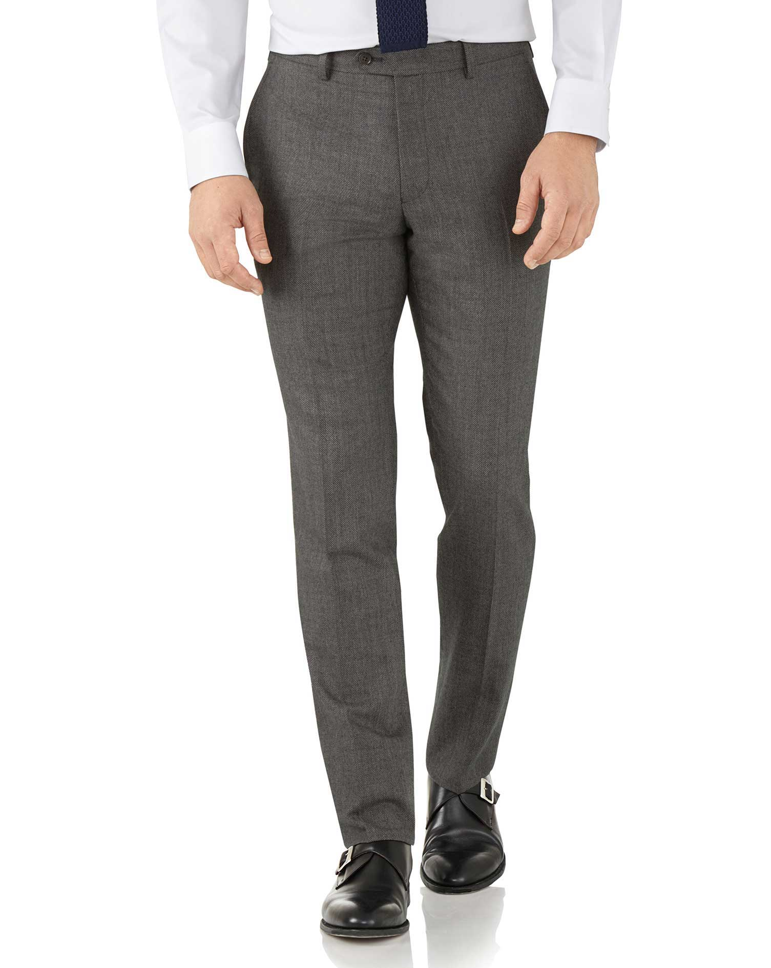 Silver Slim Fit Flannel Business Suit Trousers Size W38 L34 by Charles Tyrwhitt