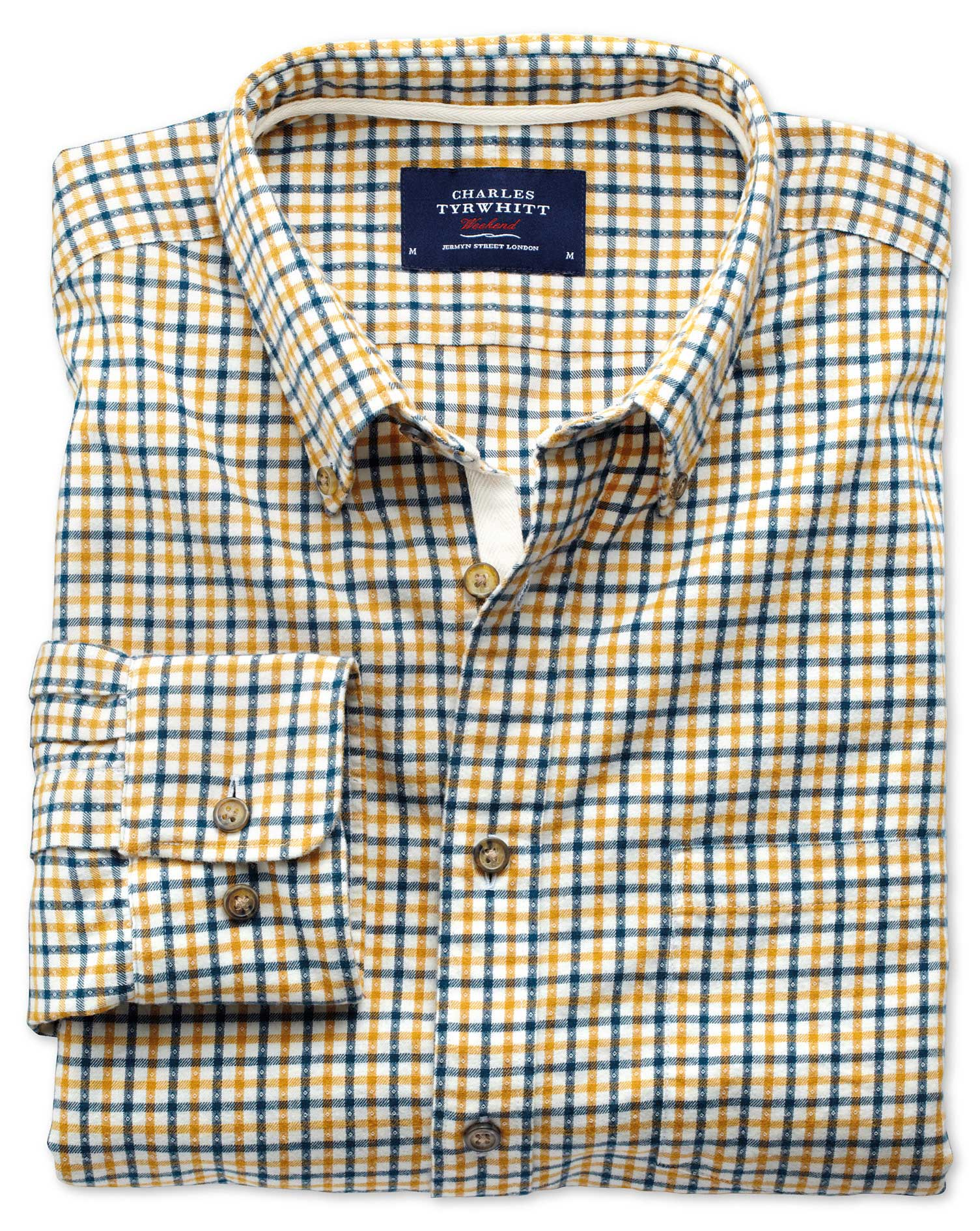 Slim Fit Gold and Blue Check Brushed Dobby Cotton Shirt Single Cuff Size Large by Charles Tyrwhitt