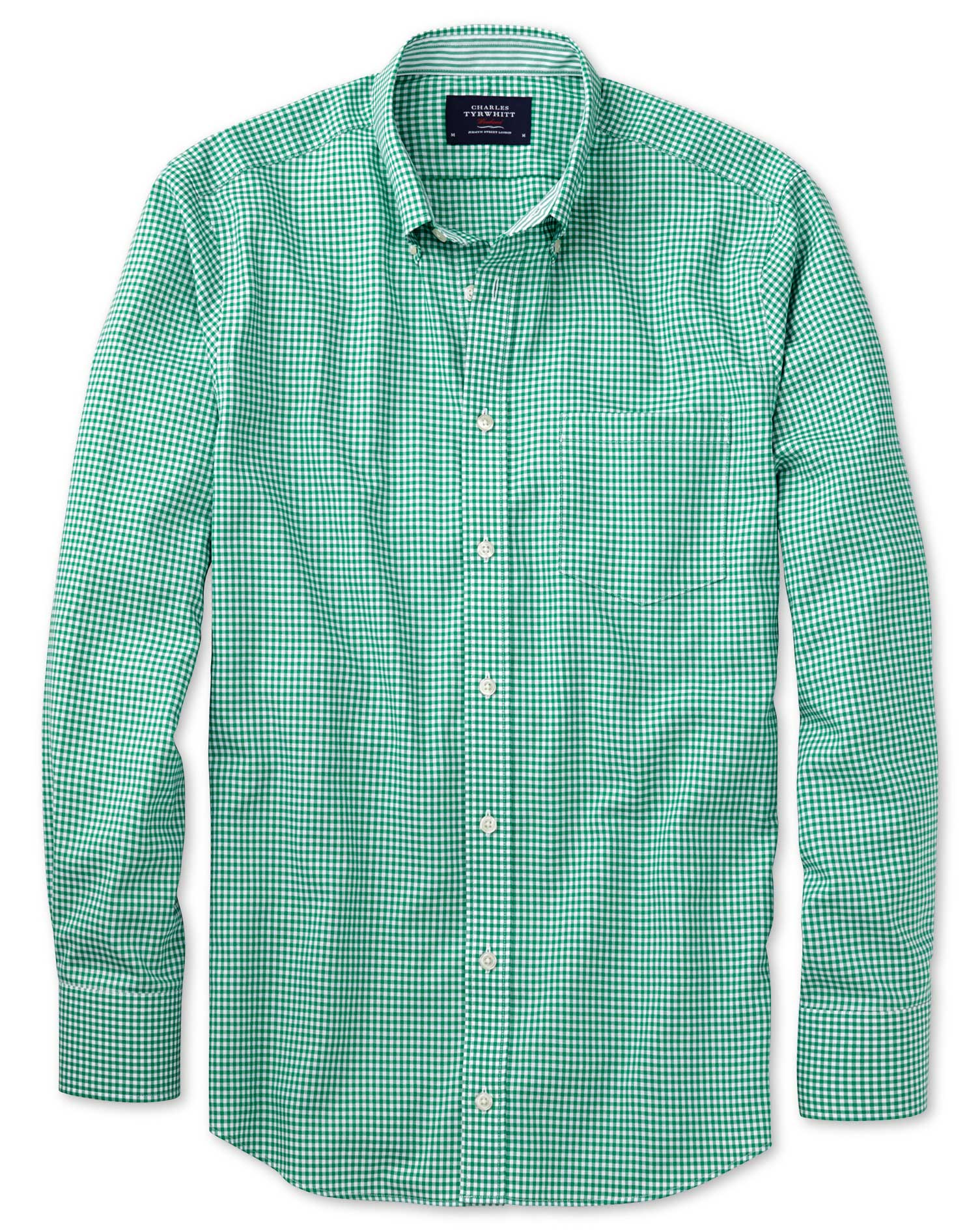 Extra Slim Fit Non-Iron Oxford Gingham Mid Green Cotton Shirt Single Cuff Size Small by Charles Tyrw
