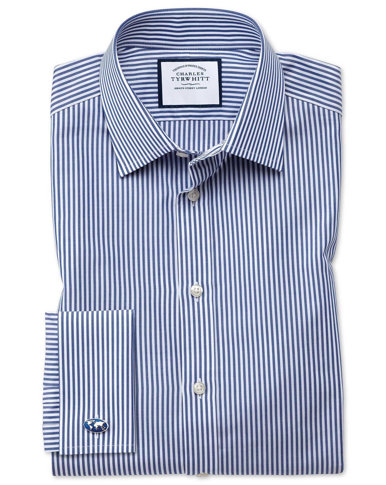 Slim Fit Bengal Stripe Navy Blue Cotton Formal Shirt Double Cuff Size 15.5/35 by Charles Tyrwhitt