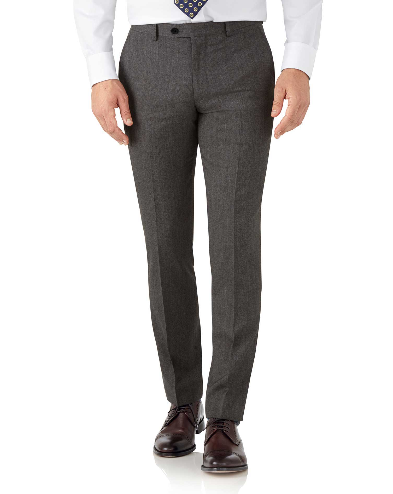 Mocha slim fit hairline business suit pants