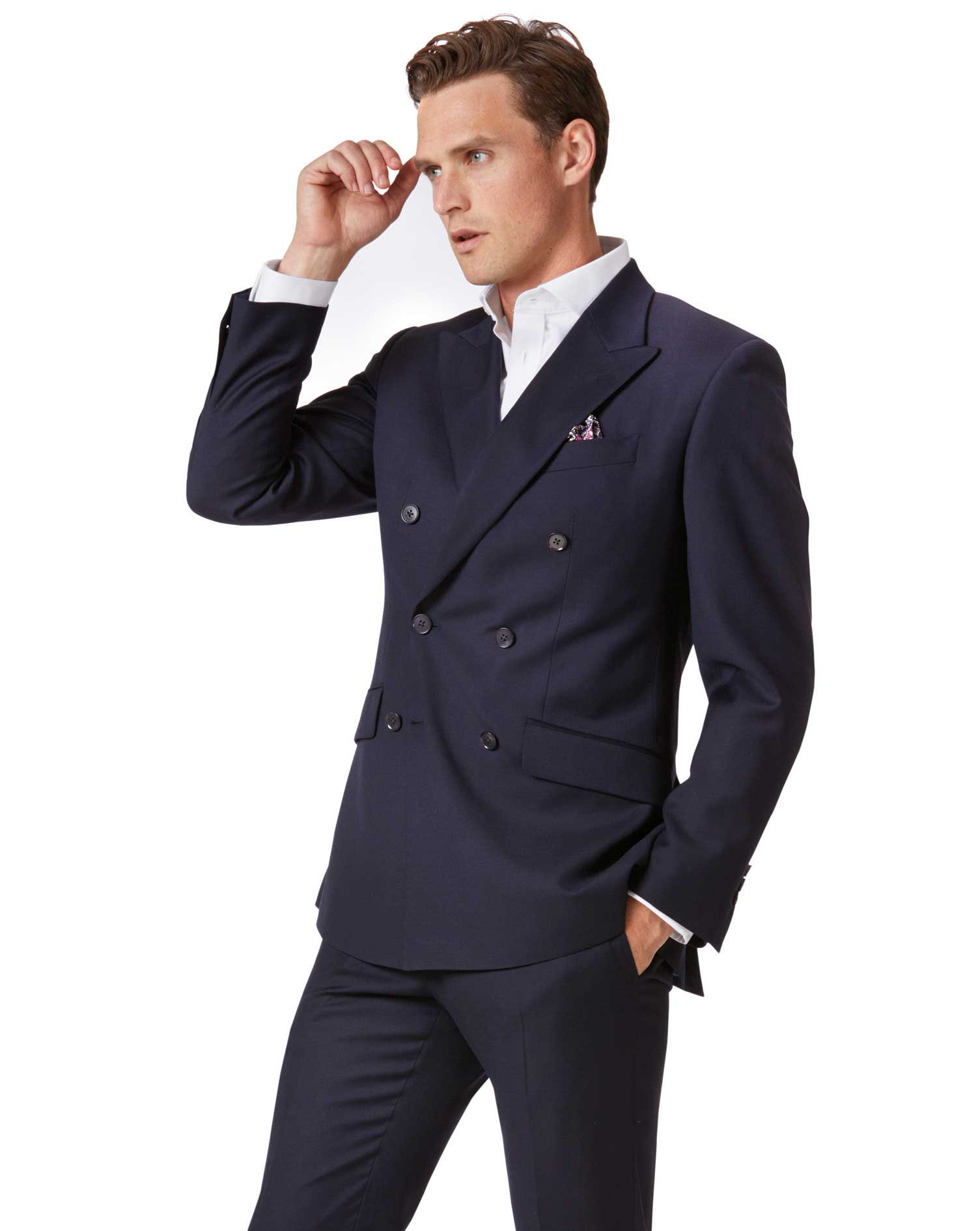 Navy Slim Fit Double Breasted Twill Business Suit Wool Jacket Size 42 Short by Charles Tyrwhitt