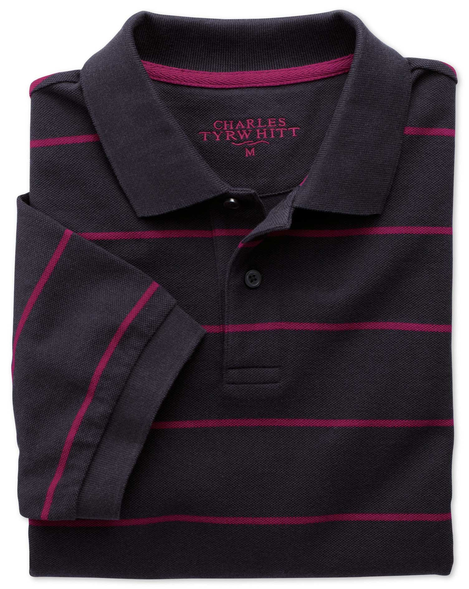 Navy and Berry Stripe Pique Cotton Polo Size Medium by Charles Tyrwhitt