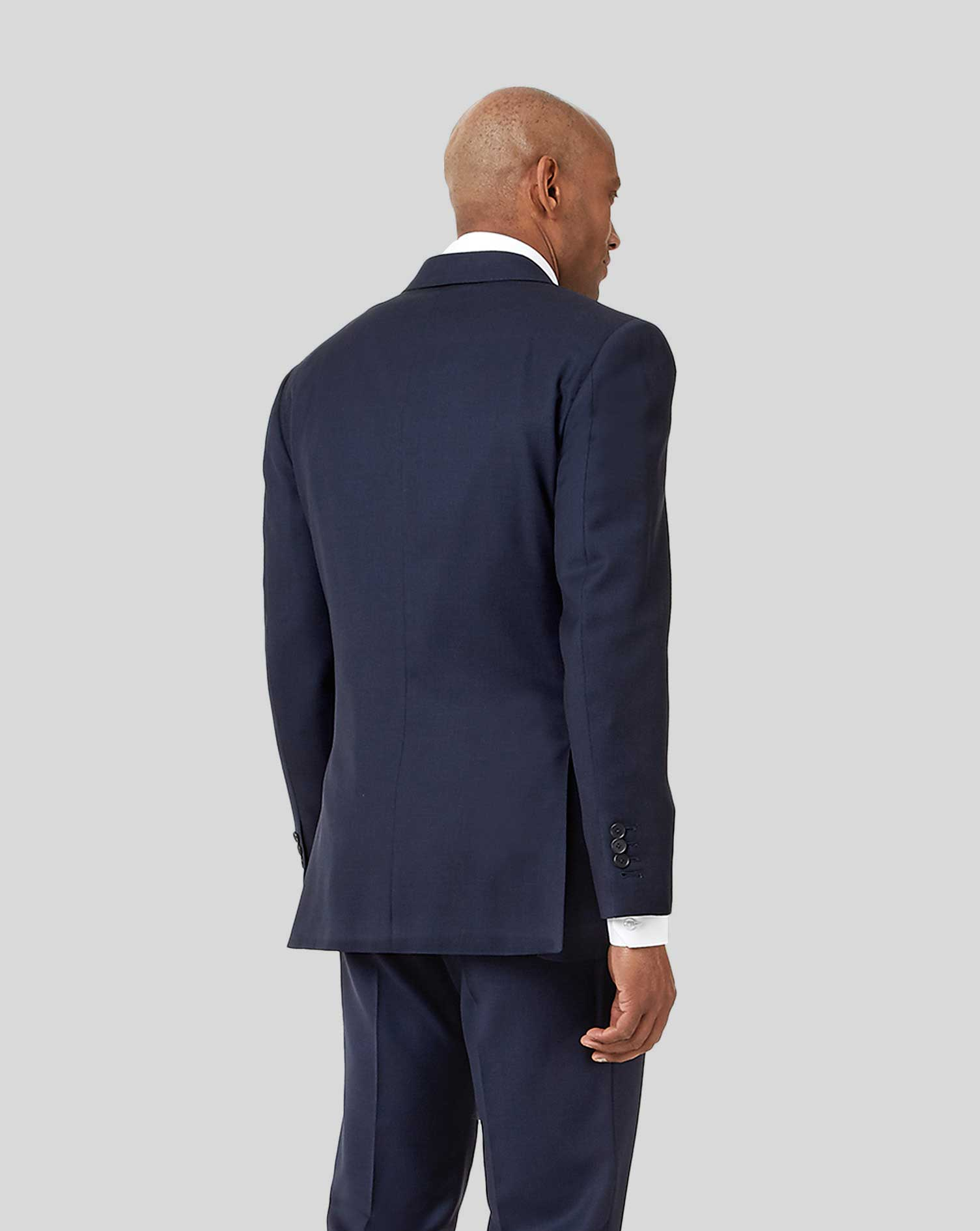 Navy slim fit birdseye travel suit jacket