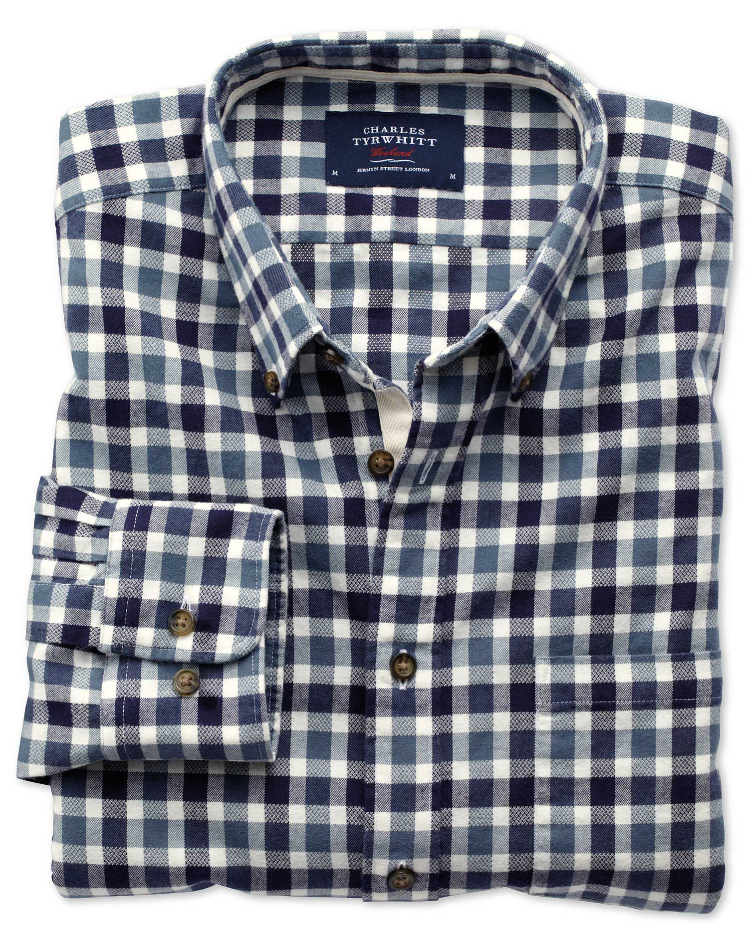 Slim Fit Navy and Blue Check Brushed Dobby Cotton Shirt Single Cuff Size XS by Charles Tyrwhitt