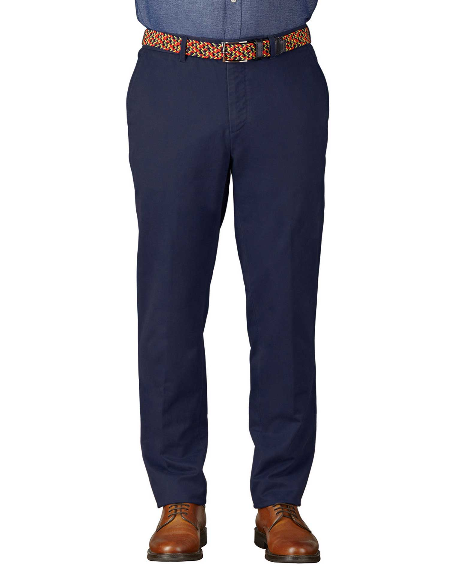 Marine Blue Extra Slim Fit Flat Front Cotton Chino Trousers Size W38 L32 by Charles Tyrwhitt