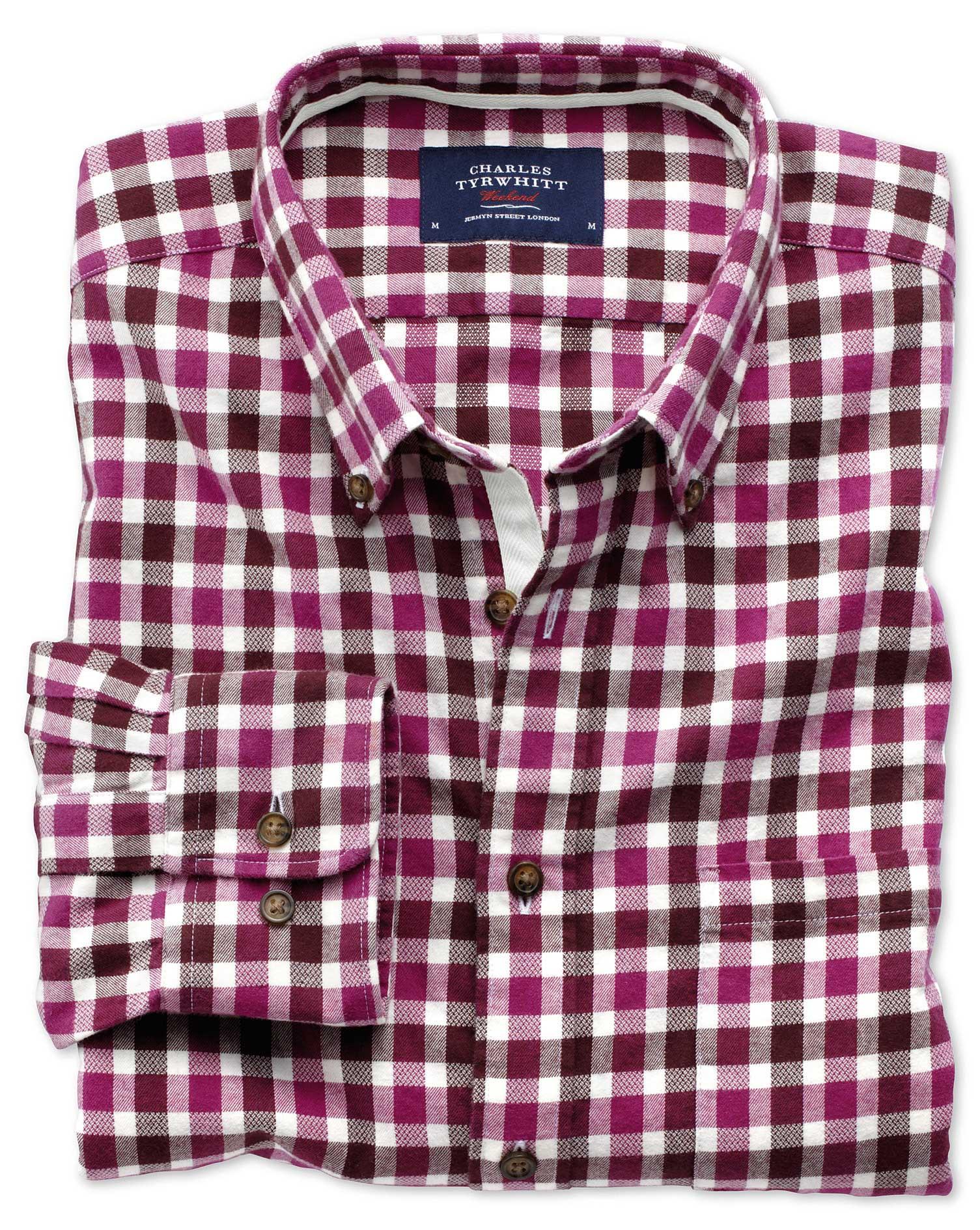 Extra Slim Fit Berry Check Brushed Dobby Cotton Shirt Single Cuff Size Medium by Charles Tyrwhitt