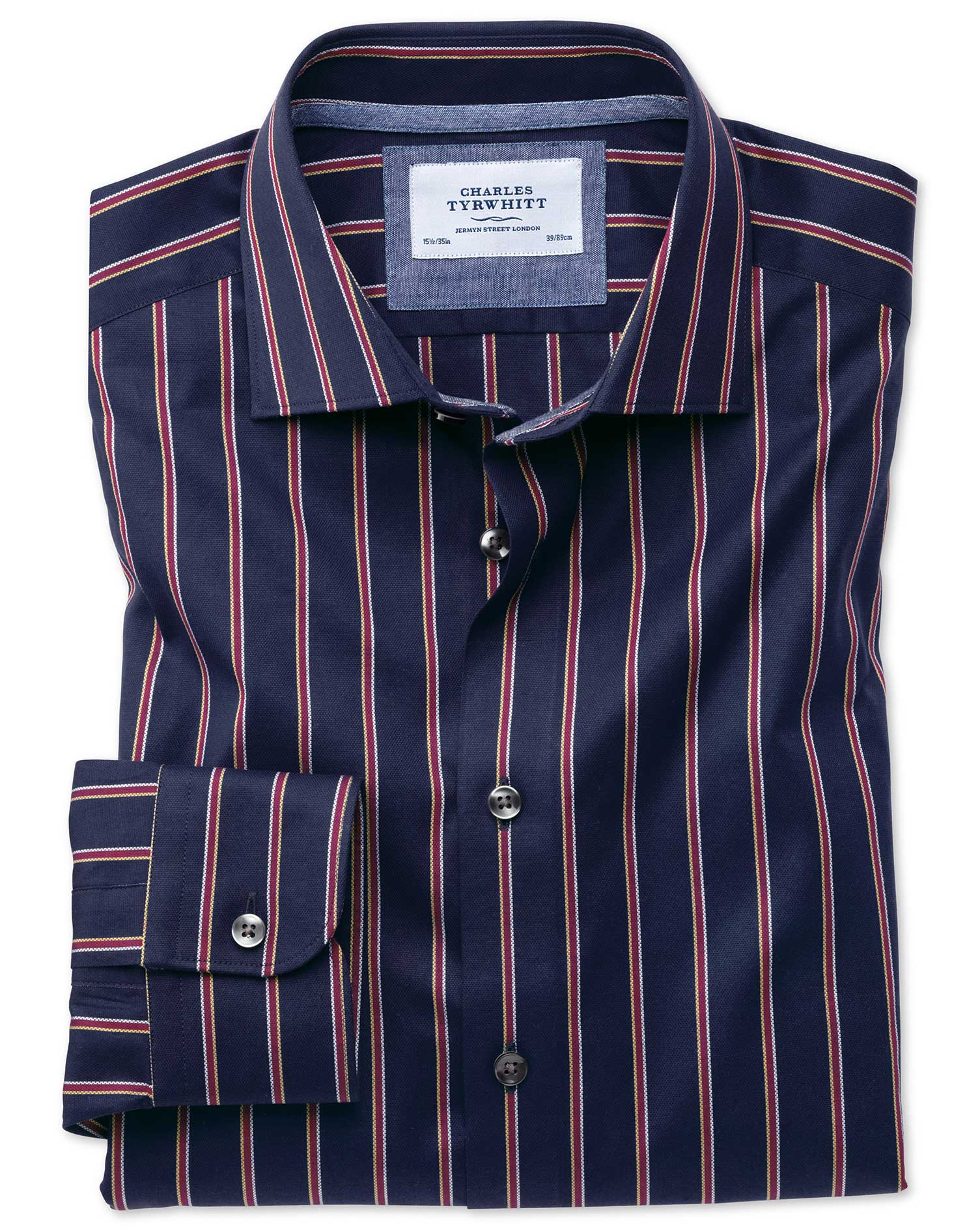 Extra Slim Fit Semi-Cutaway Business Casual Boating Navy and Red Stripe Cotton Formal Shirt Single C