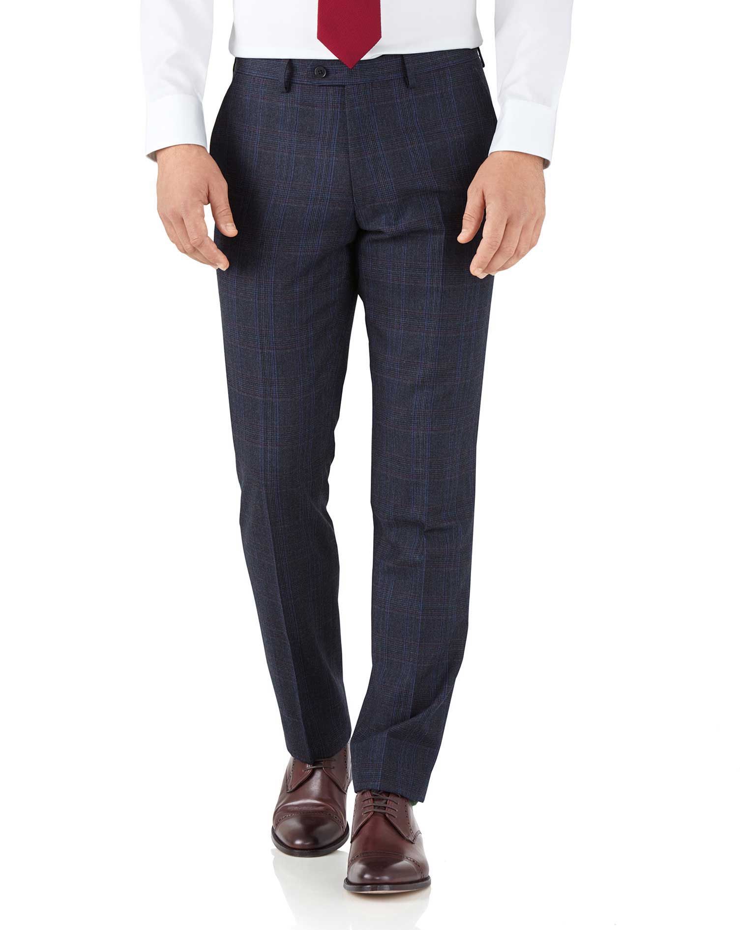Pantalon de costume business bleu Prince de Galles slim fit en flanelle