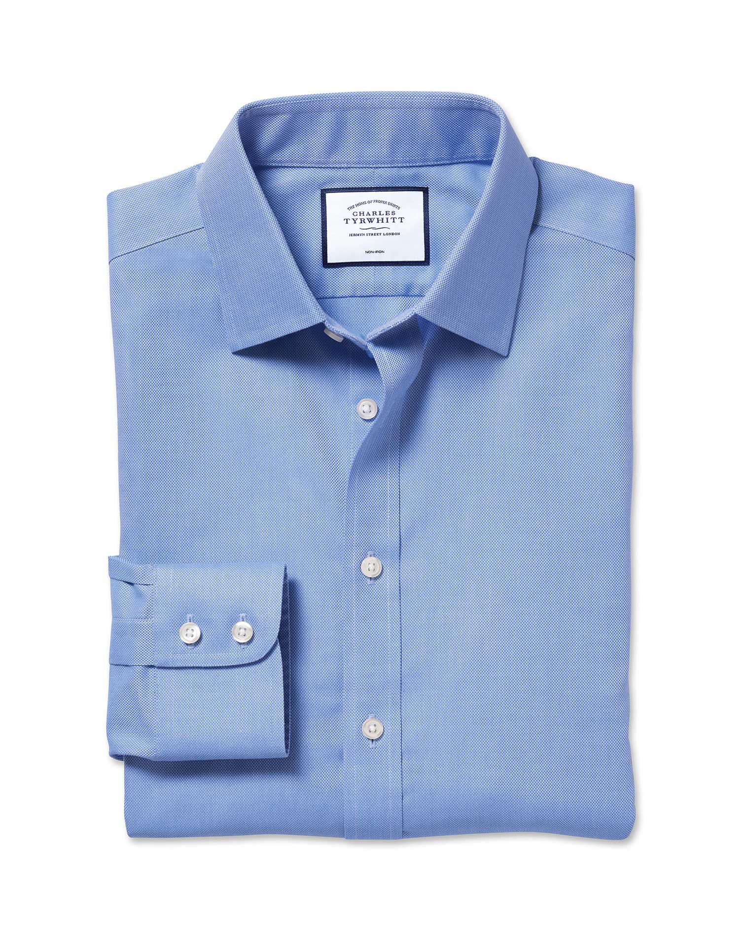 Extra Slim Fit Non-Iron Royal Panama Blue Cotton Formal Shirt Single Cuff Size 17/34 by Charles Tyrw