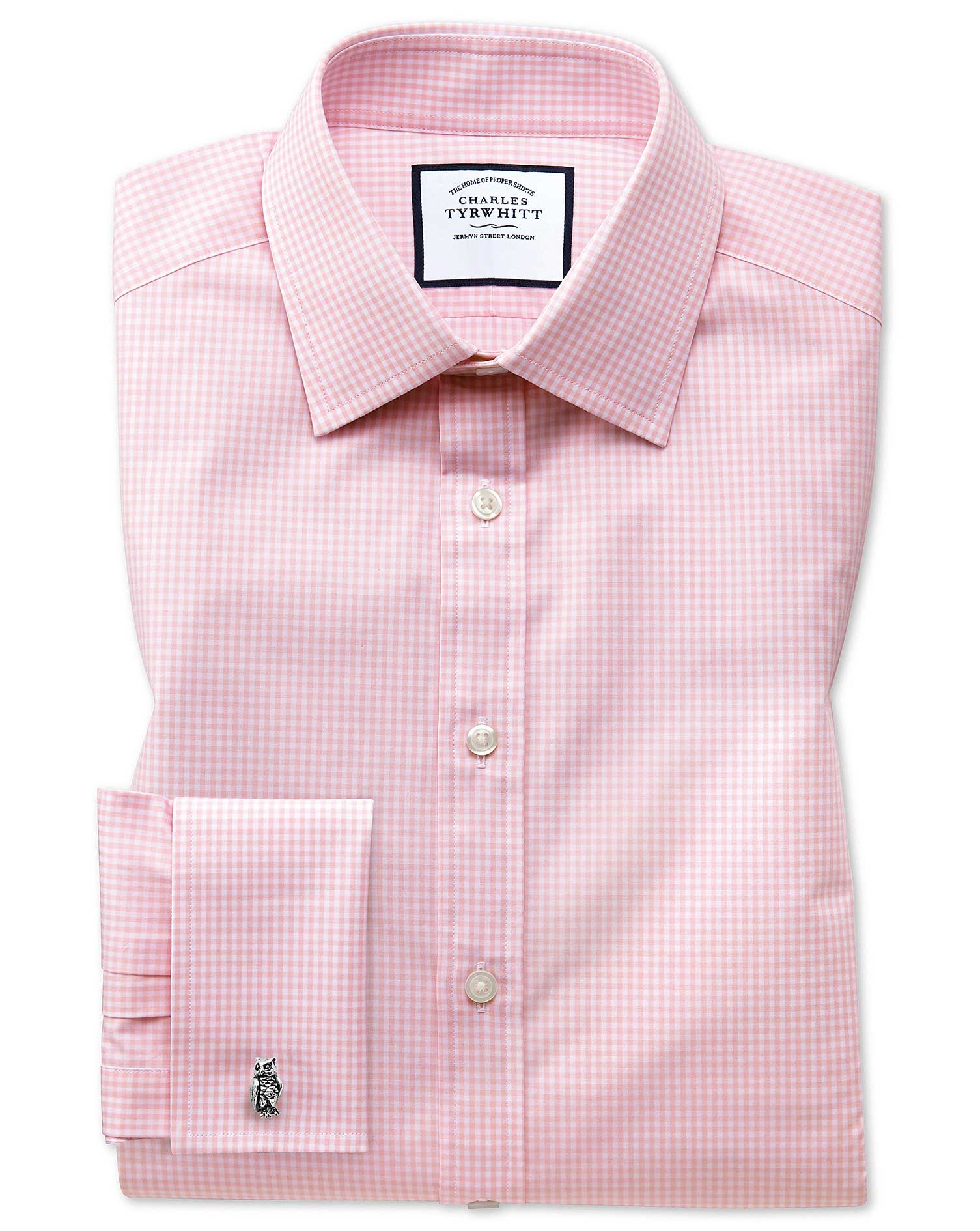 Slim Fit Small Gingham Light Pink Cotton Formal Shirt Double Cuff Size 18/37 by Charles Tyrwhitt