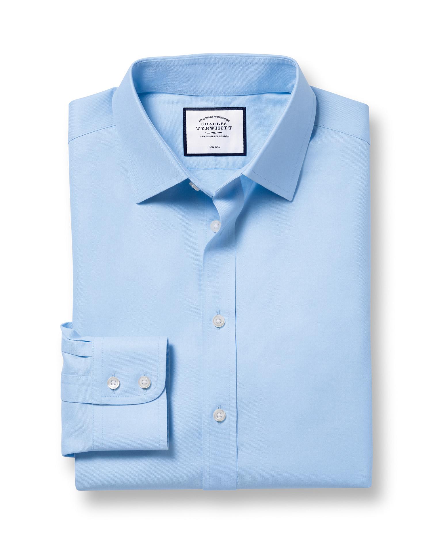 Extra Slim Fit Non-Iron Twill Sky Blue Cotton Formal Shirt Double Cuff Size 16.5/36 by Charles Tyrwh