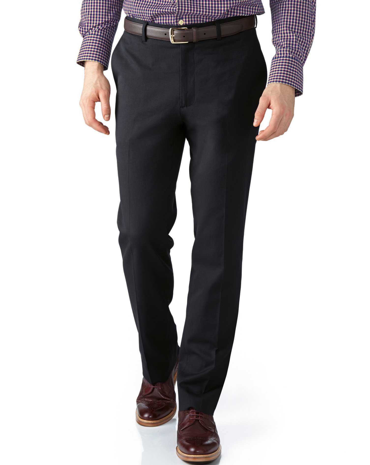 Grey Extra Slim Fit Stretch Cavalry Twill Trousers Size W36 L30 by Charles Tyrwhitt
