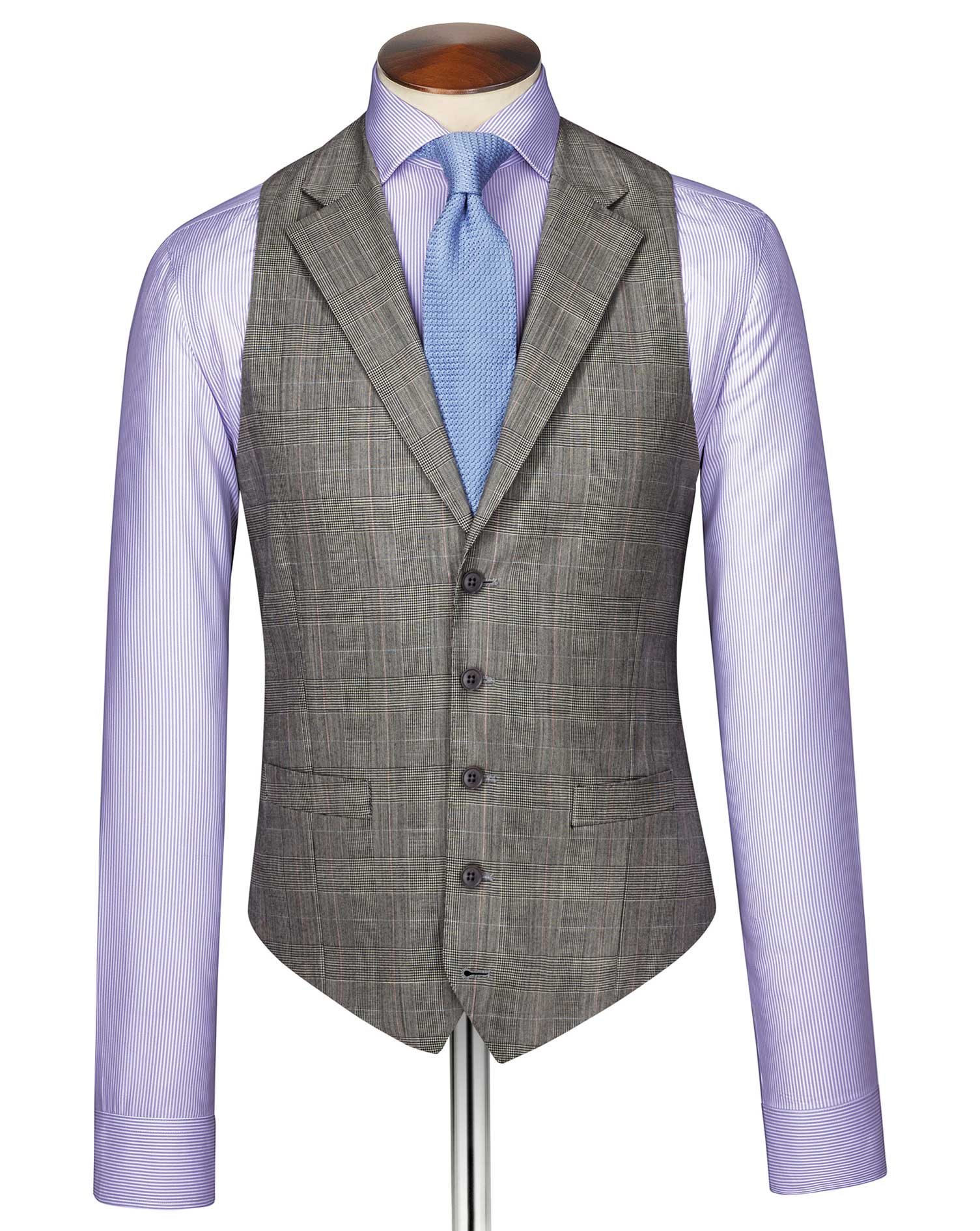 Grey Prince of Wales check Panama business suit waistcoat