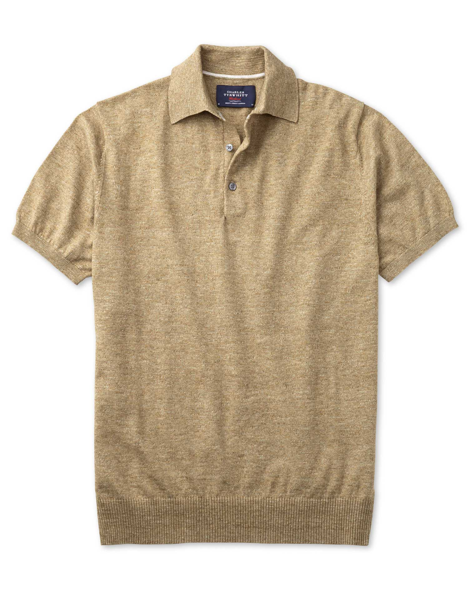 Fawn Heather Short Sleeve Cotton Polo Collar Cotton Jumper Size XS by Charles Tyrwhitt