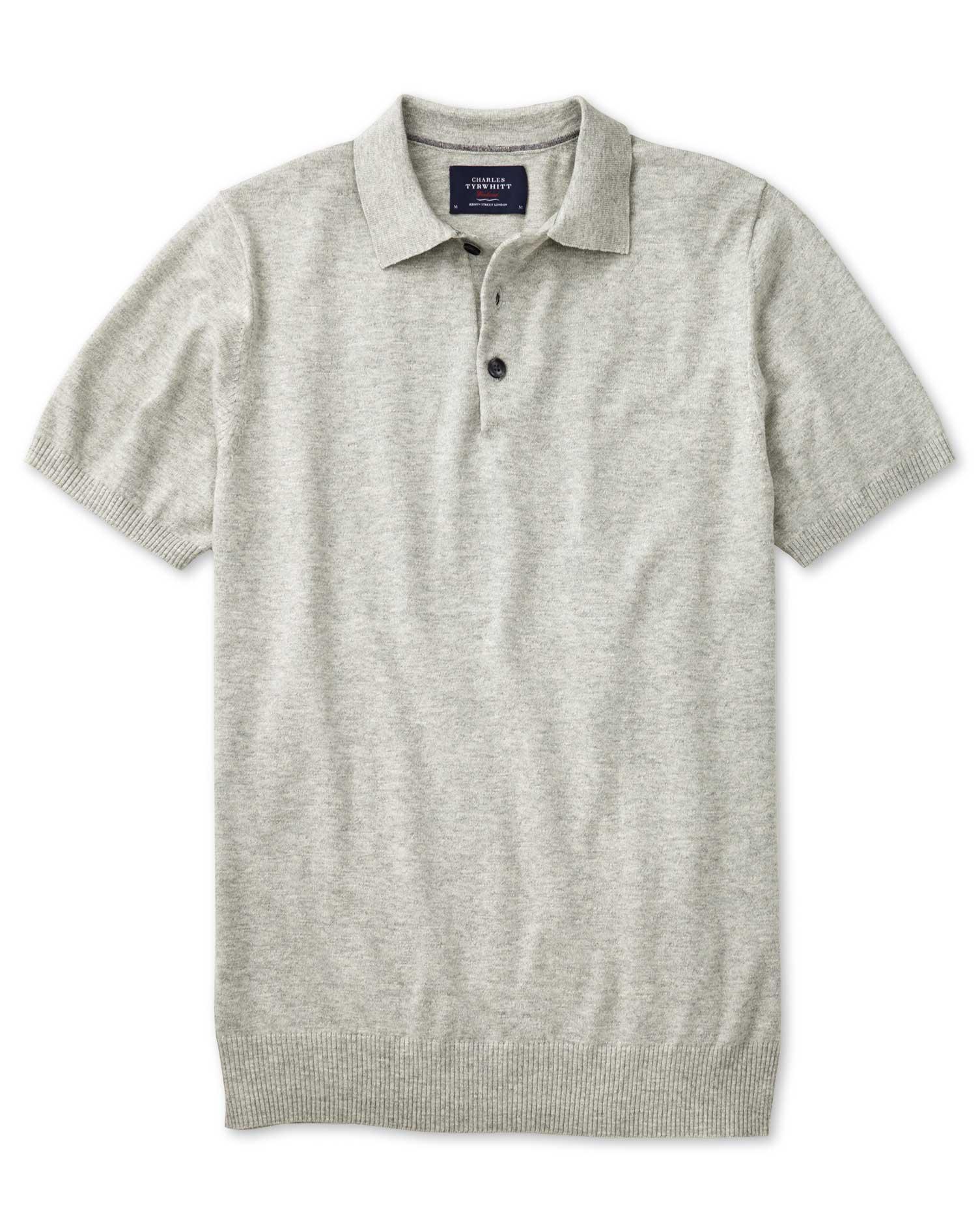 Silver Heather Short Sleeve Cotton Polo Collar Cotton Jumper Size XXL by Charles Tyrwhitt