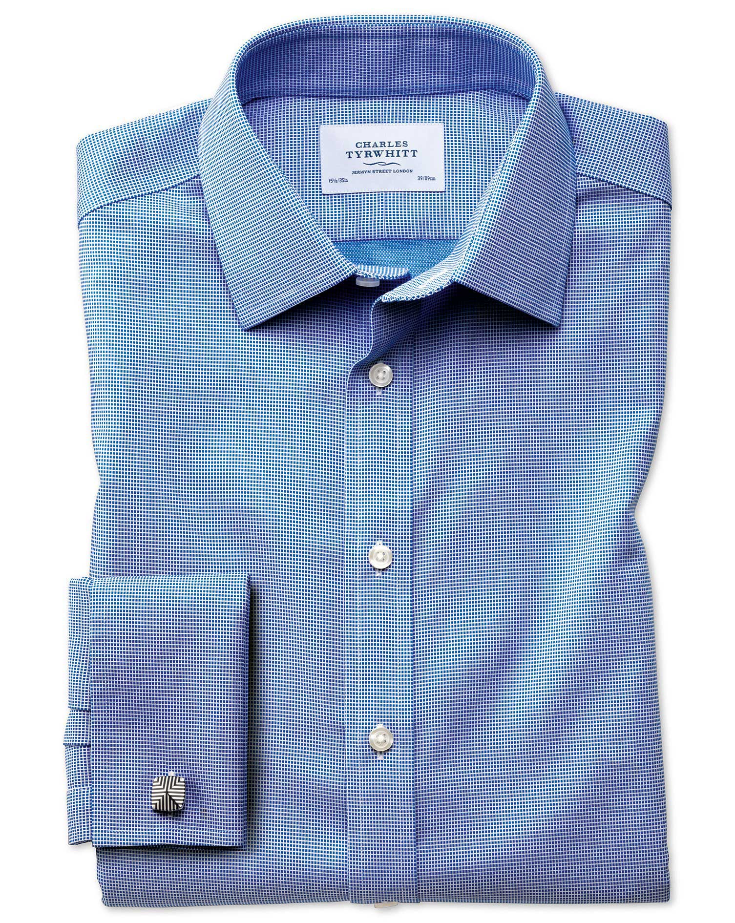 Classic Fit Non-Iron Square Weave Blue Cotton Formal Shirt Double Cuff Size 16/35 by Charles Tyrwhit