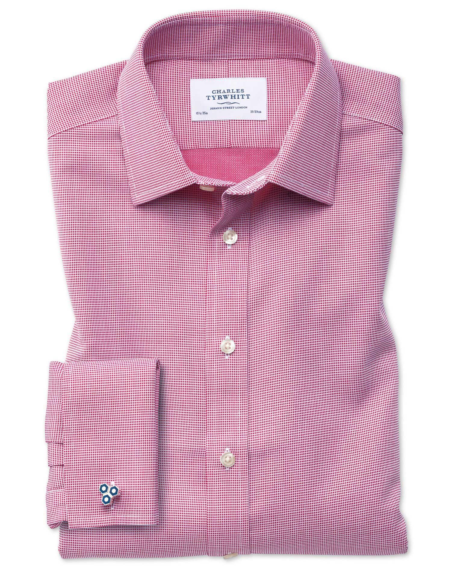 Bügelfreies Classic Fit Hemd in Magenta mit gew...