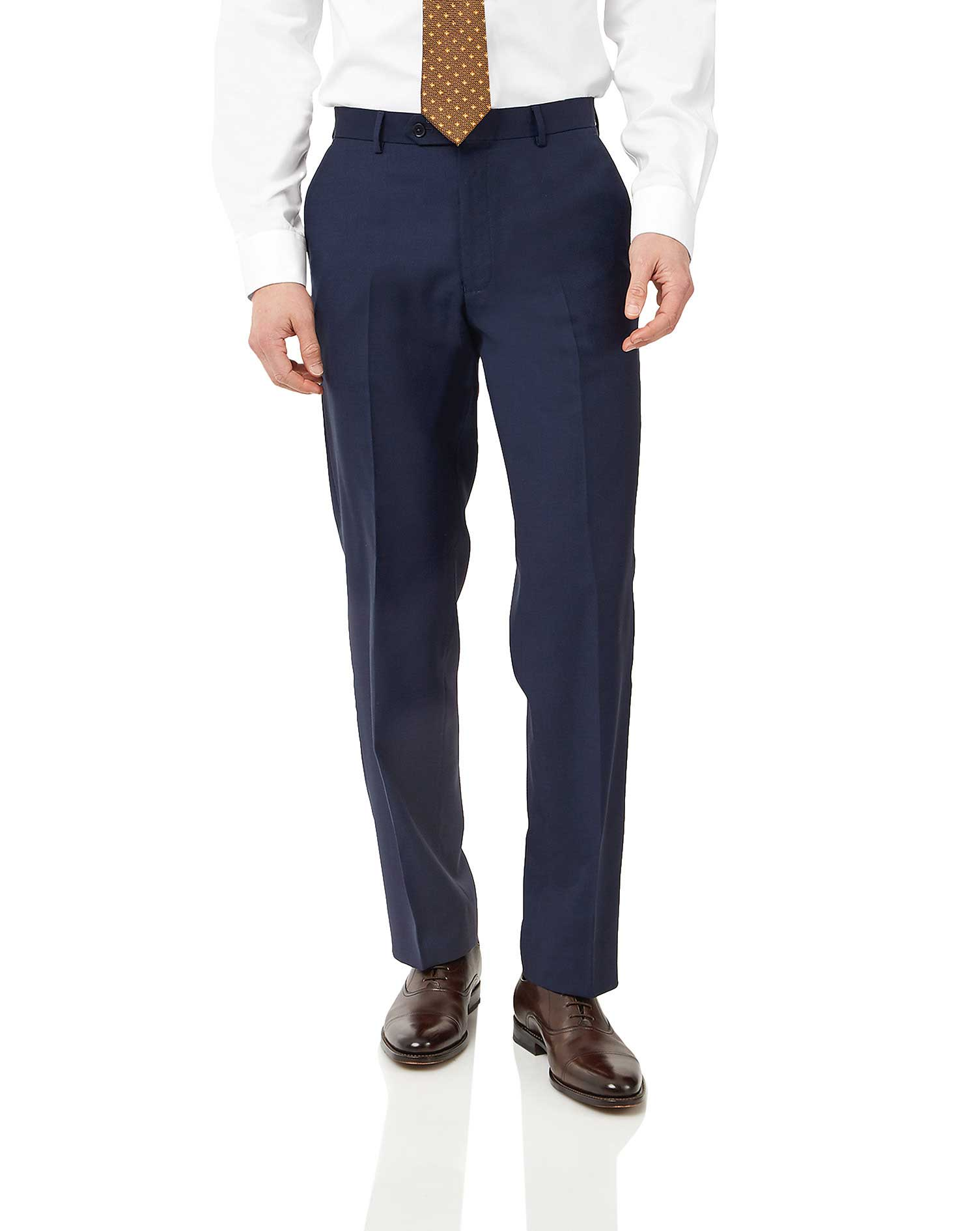 Navy Classic Fit Birdseye Travel Suit Trousers Size W32 L38 by Charles Tyrwhitt