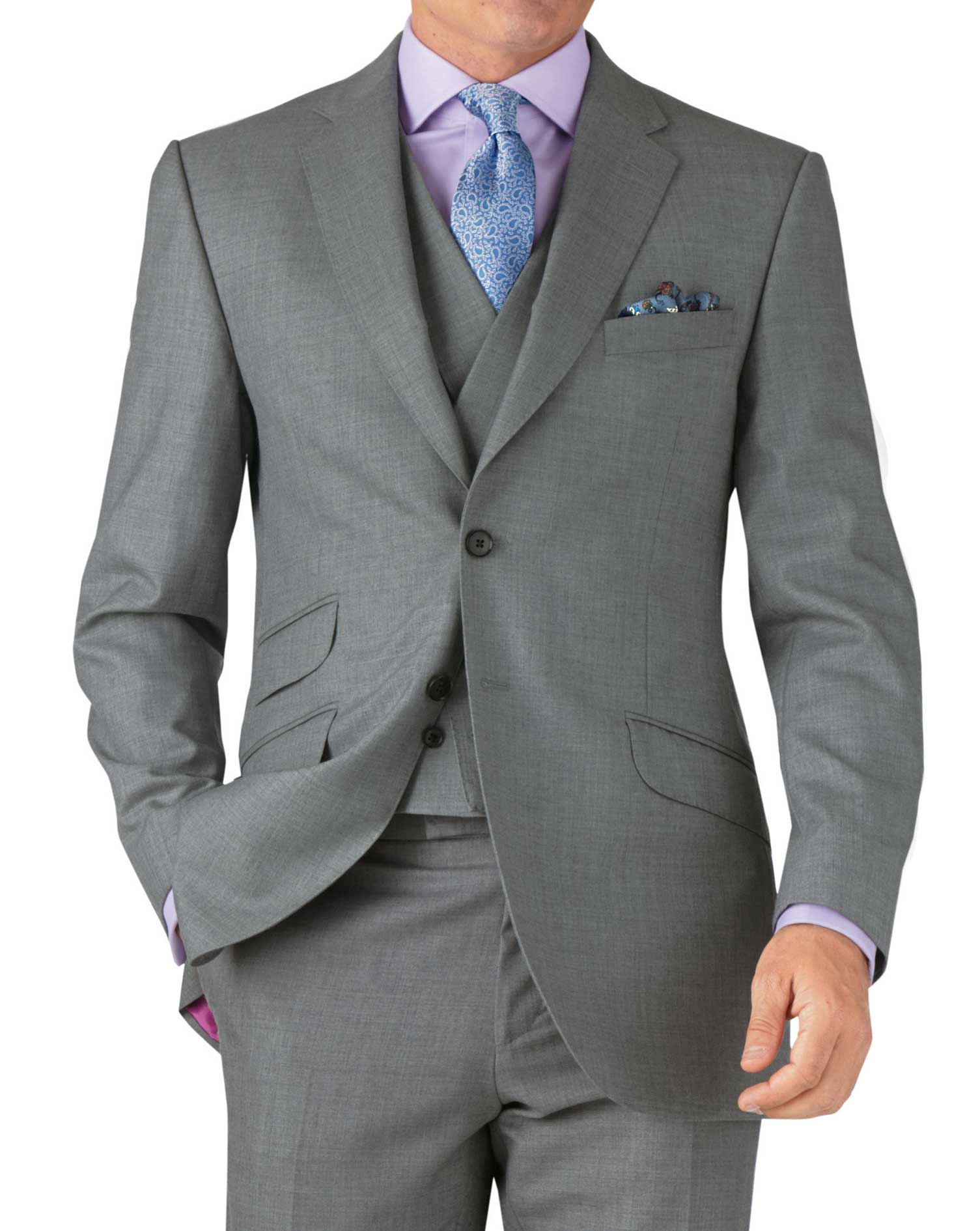 Silver classic fit British Panama luxury suit jacket