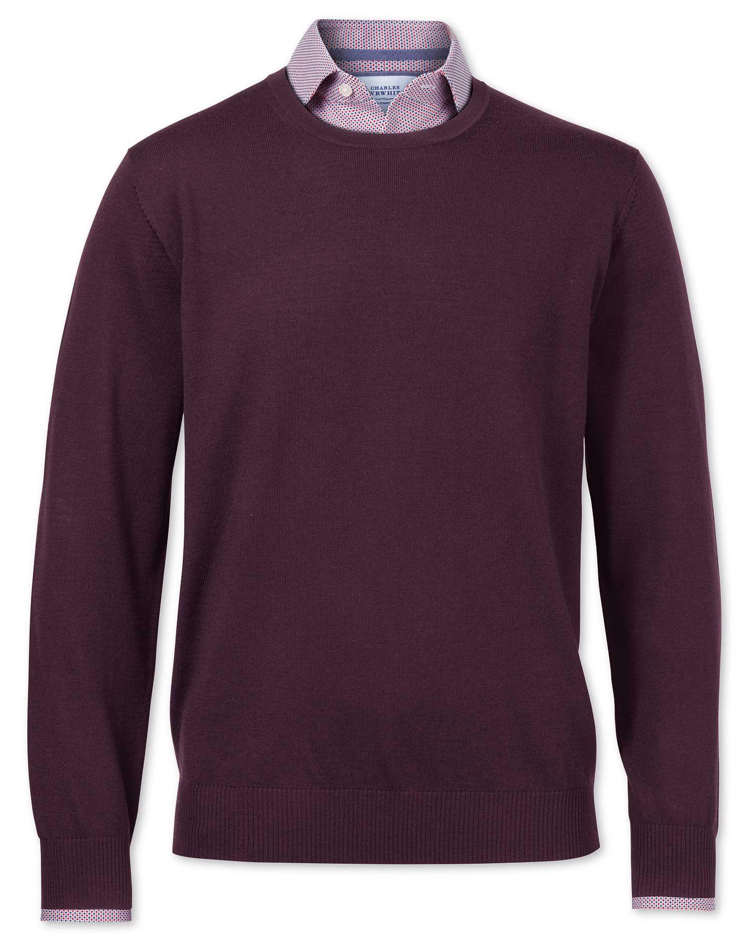 Wine Merino Wool Crew Neck Jumper Size XXL by Charles Tyrwhitt
