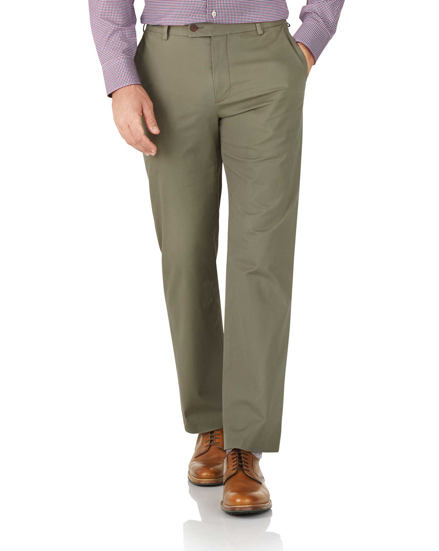 Khaki Classic Fit Stretch Cotton Chino Trousers Size W32 L34 by Charles Tyrwhitt