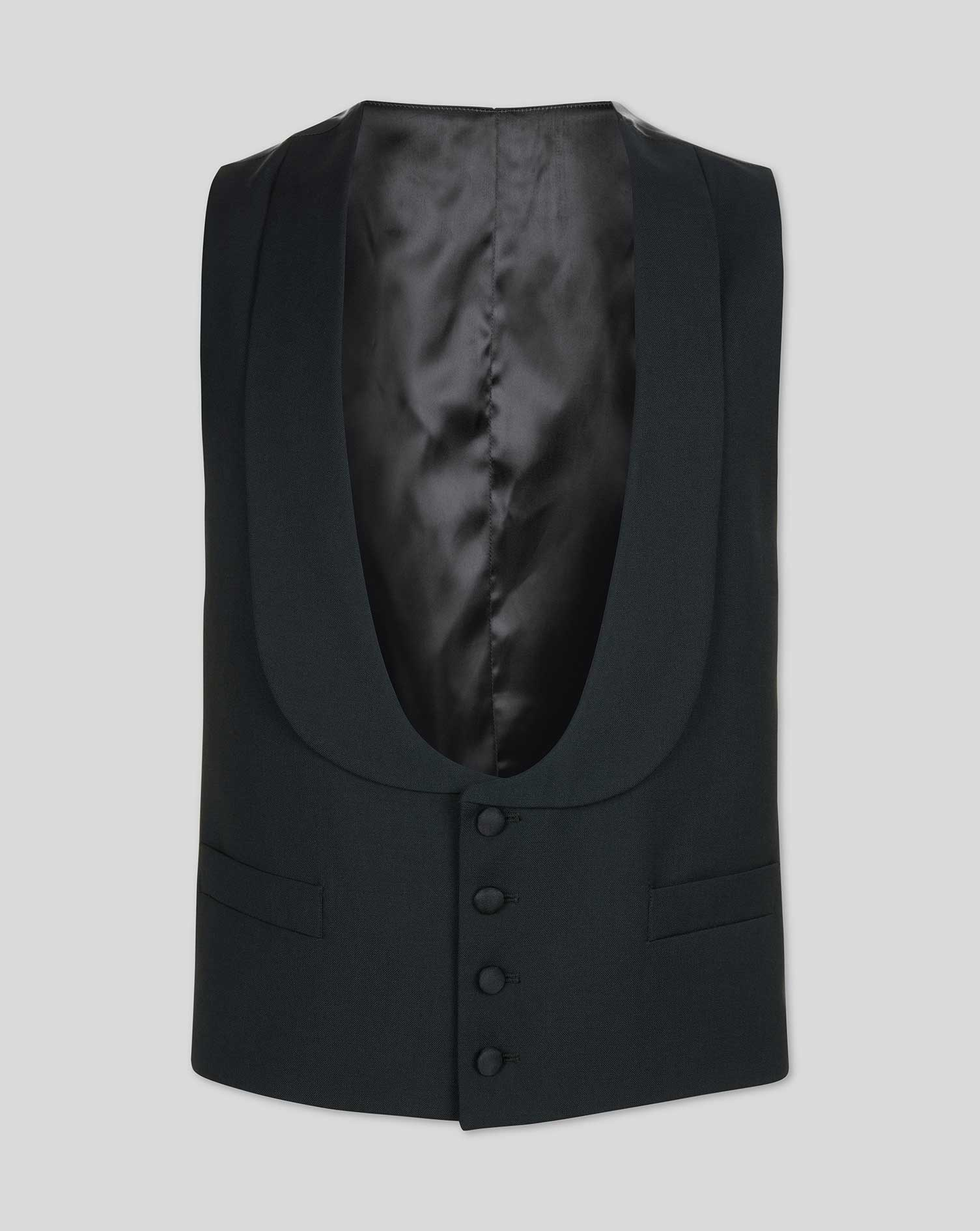 Black adjustable fit shawl collar tuxedo vest