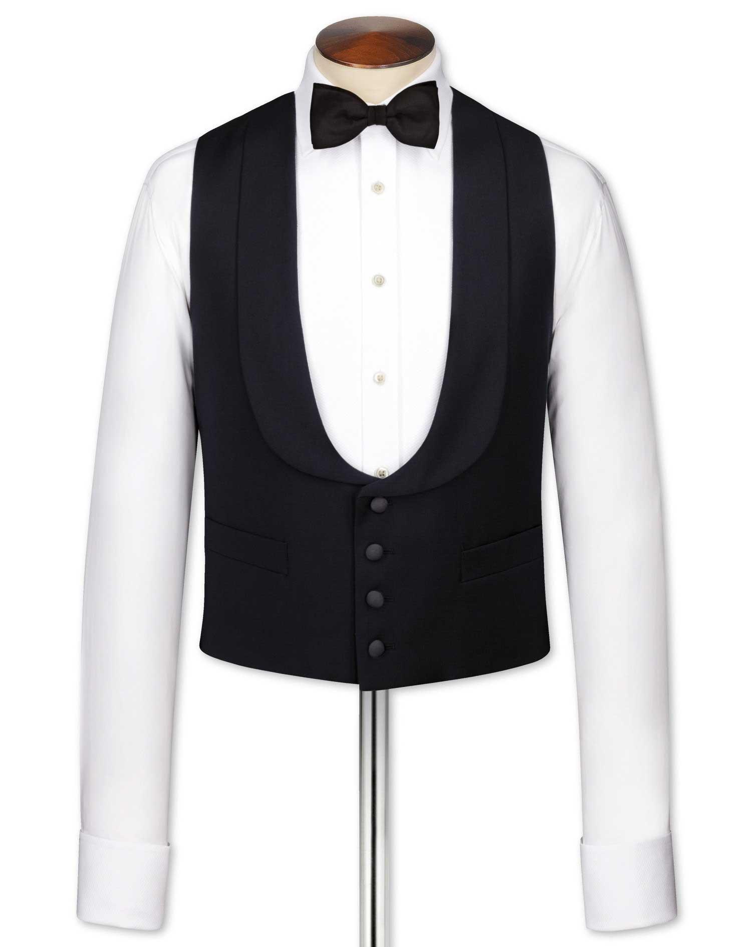 Black Adjustable Fit Shawl Collar Tuxedo Wool Waistcoat Size w46 by Charles Tyrwhitt