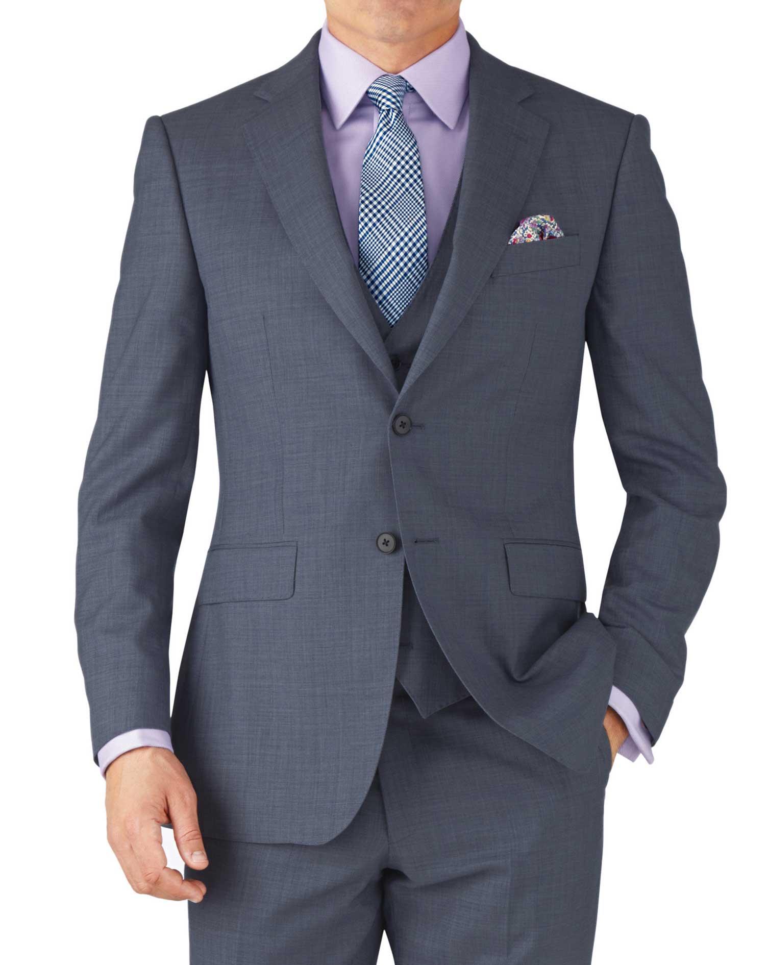 Light Blue Classic Fit Sharkskin Travel Suit Wool Jacket Size 48 Regular by Charles Tyrwhitt