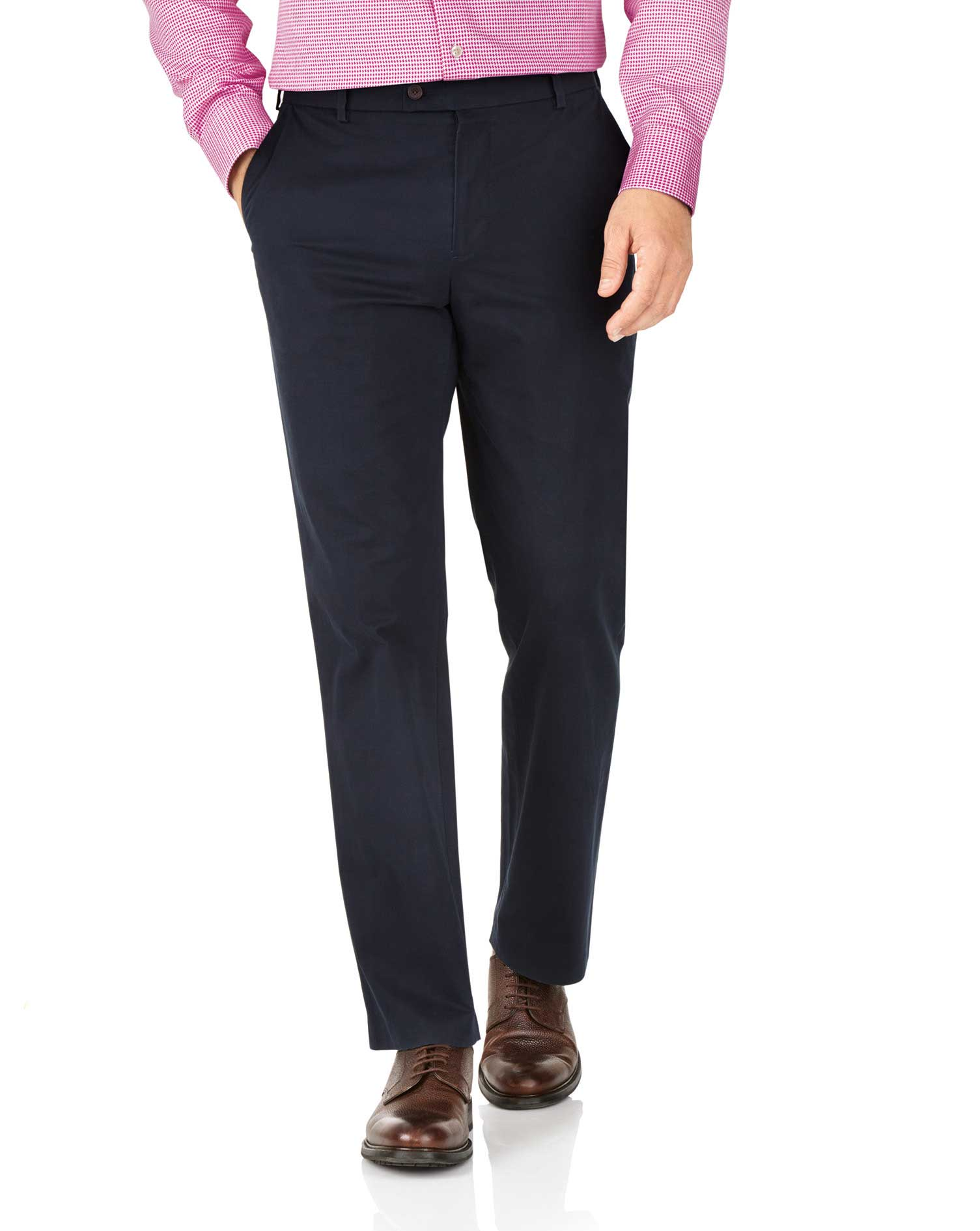 Navy Classic Fit Stretch Cotton Chino Trousers Size W38 L32 by Charles Tyrwhitt