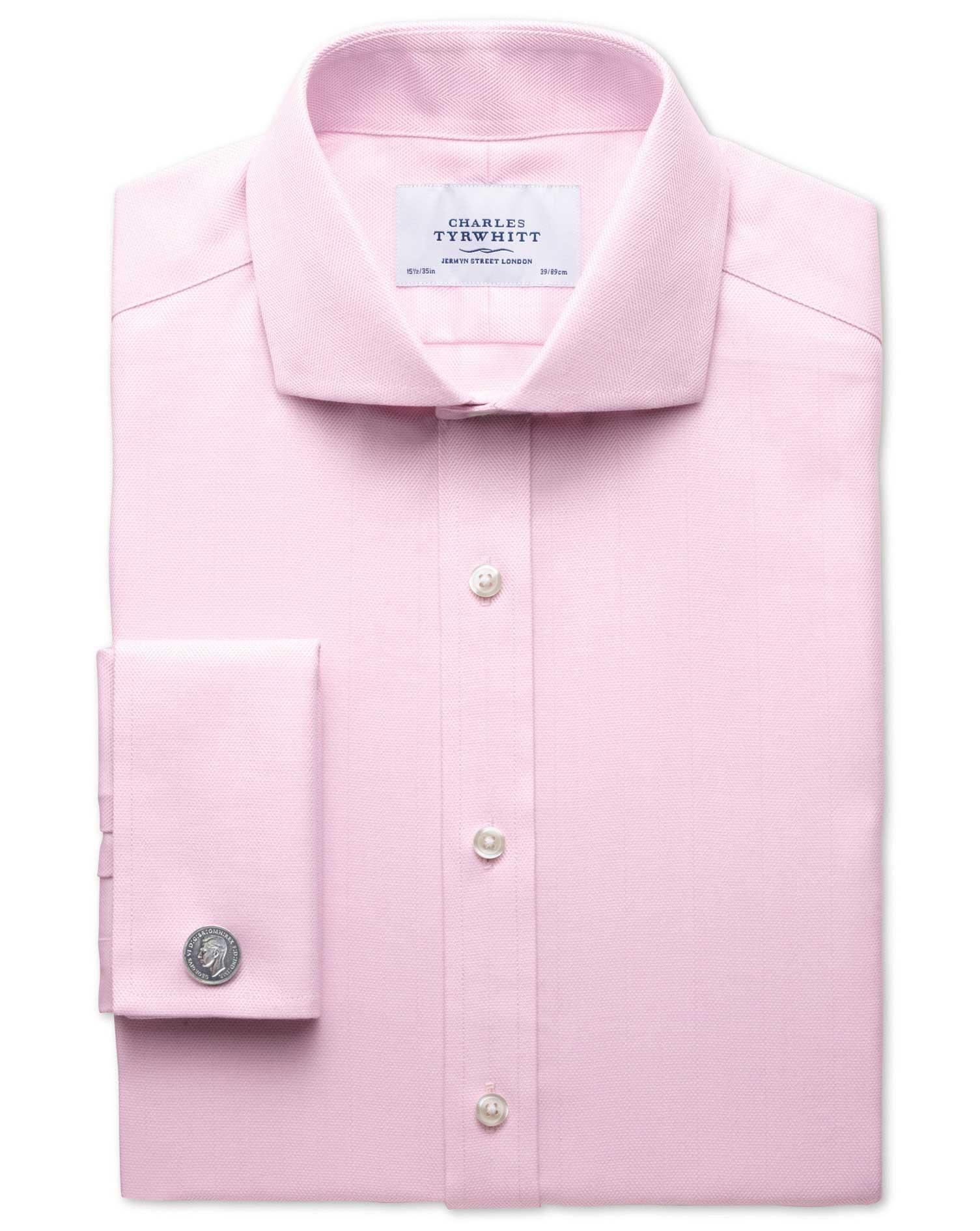 Slim Fit Cutaway Collar Non-Iron Herringbone Light Pink Cotton Formal Shirt Single Cuff Size 16/38 b