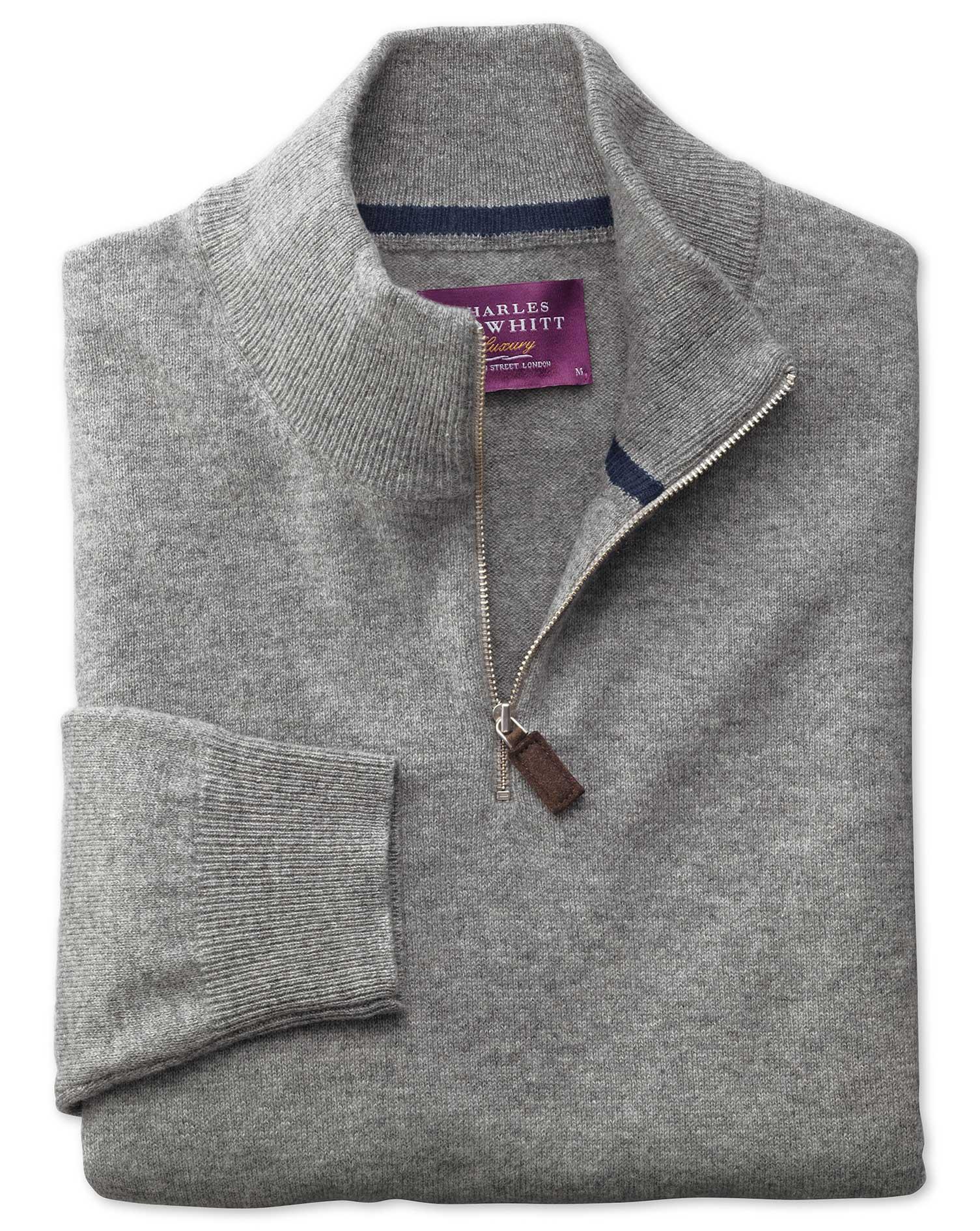 Silver Cashmere Zip Neck Jumper Size XL by Charles Tyrwhitt
